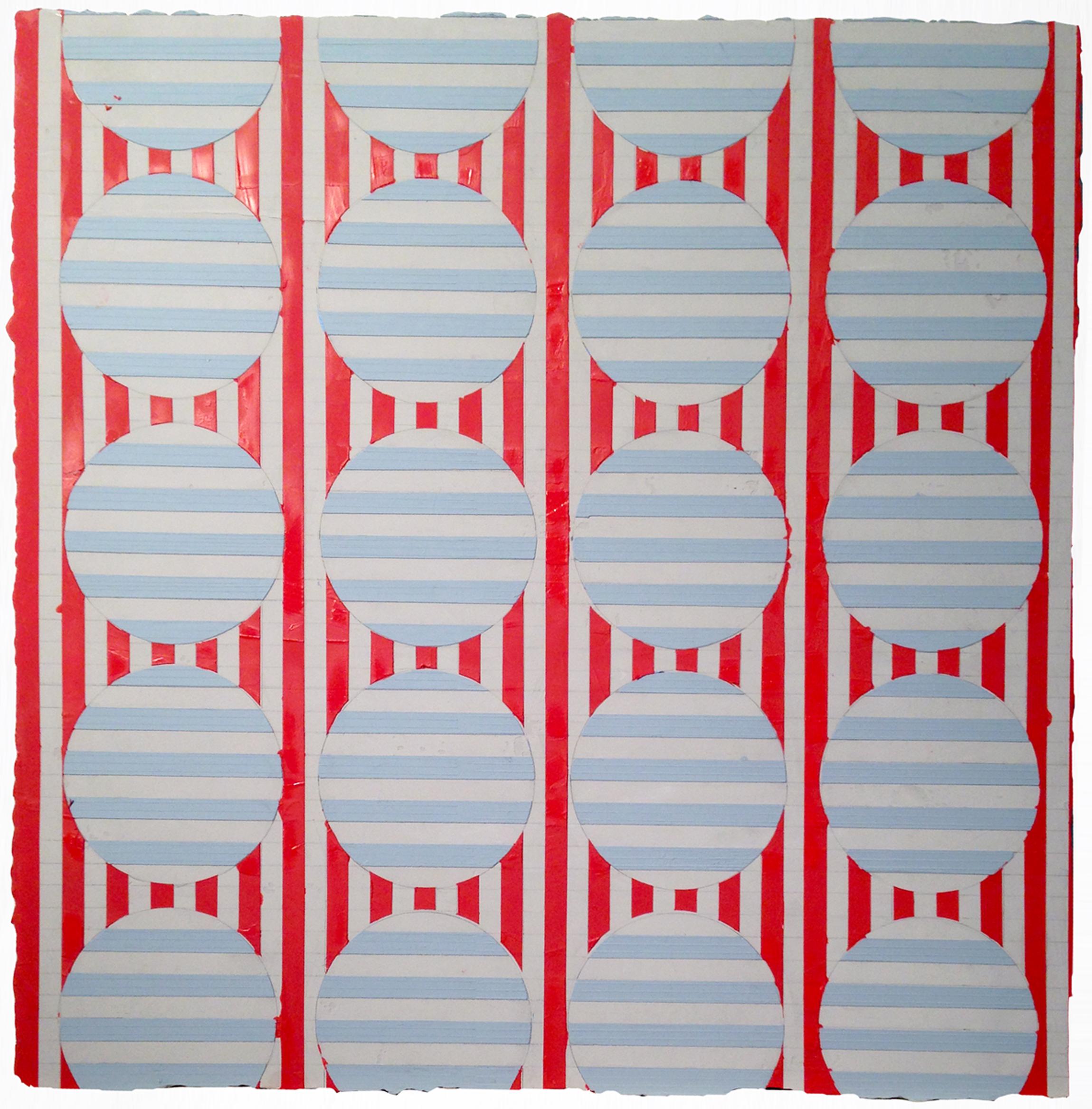 "ELISE FERGUSON   J Bird , pigmented plaster on MDF panel, 24"" x 24"", 2014"