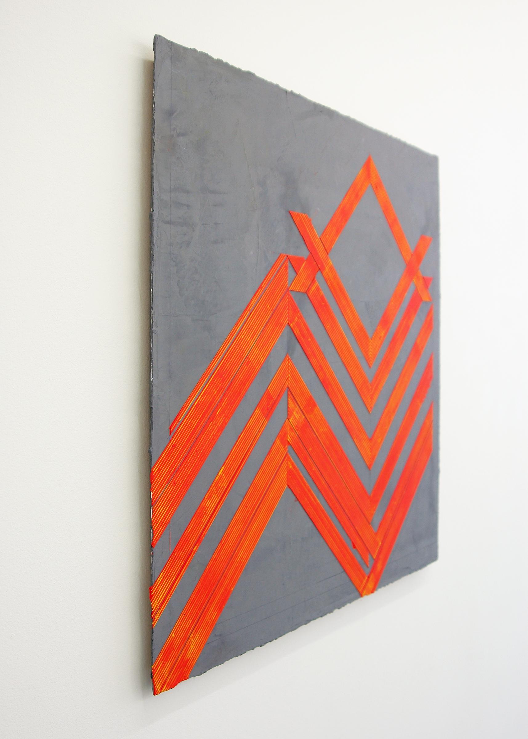 """ELISE FERGUSON  (3/4 view) N V V , pigmented plaster on MDF panel, 30"""" x 30"""", 2014"""