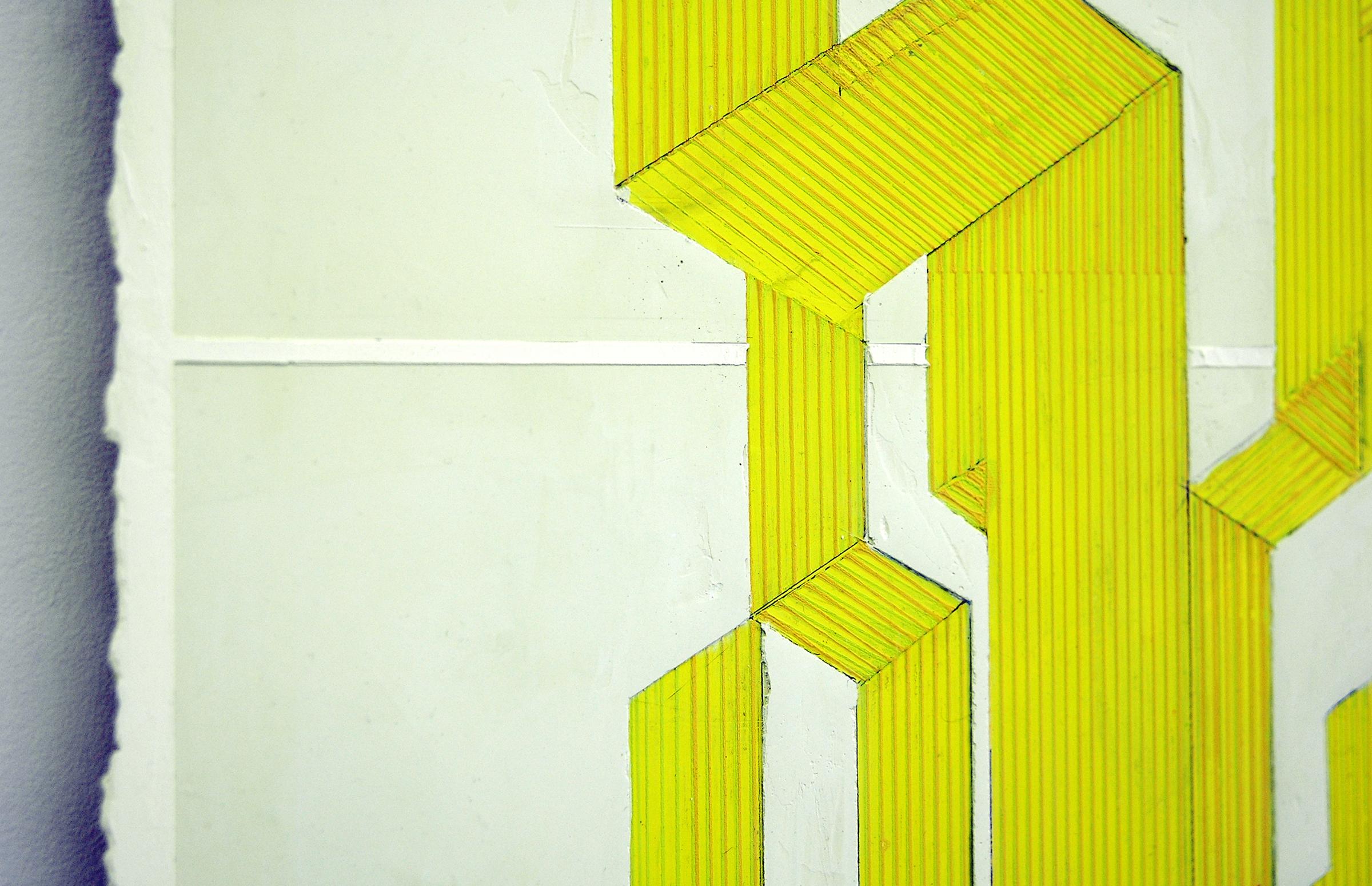 "ELISE FERGUSON  (detail) Table , pigmented plaster on MDF panel, 36"" x 24"", 2014"