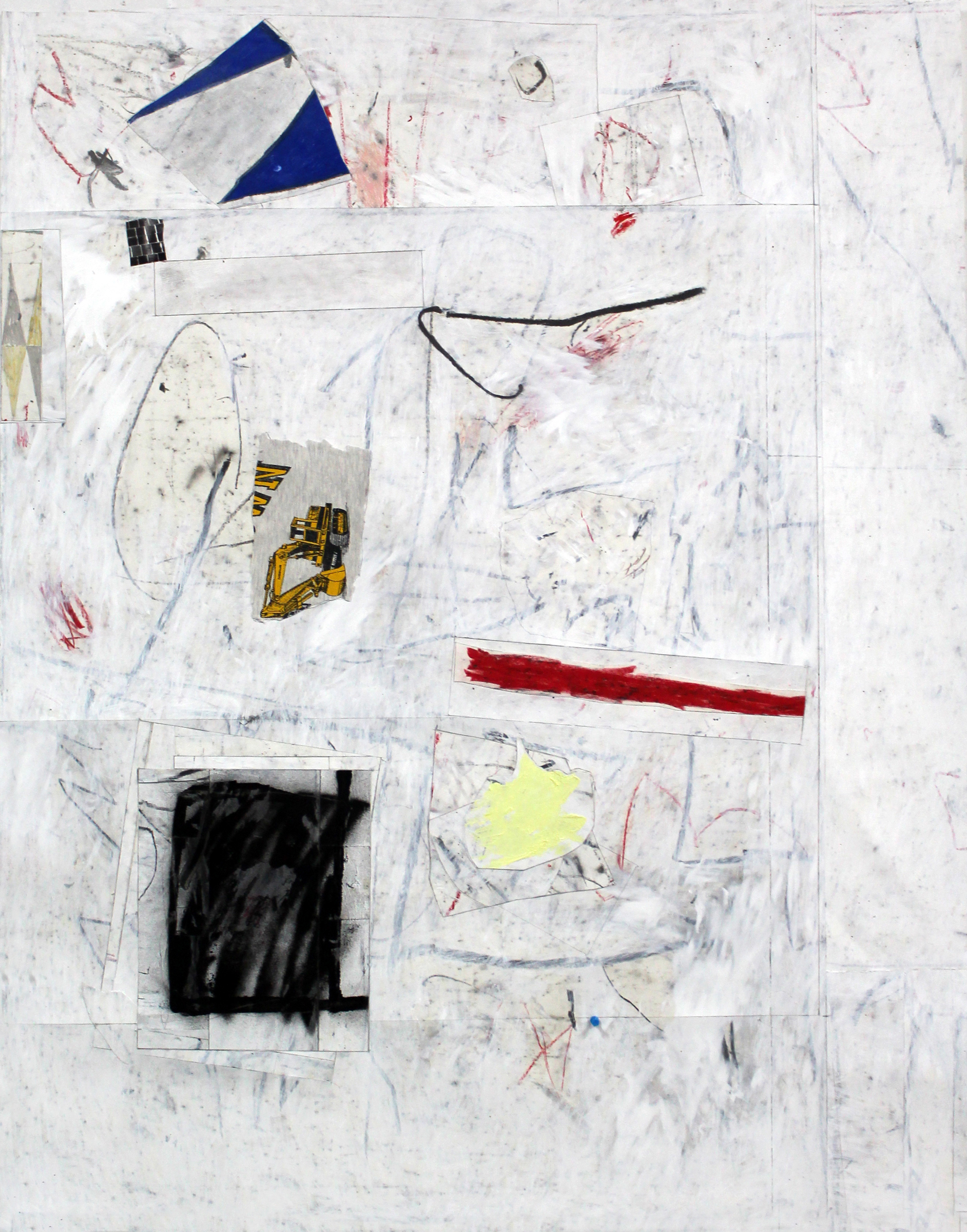 "JOSEPH HART   Excavator , collaged paper, acrylic, oil crayon and graphite on paper, 52"" x 42"", 2013"