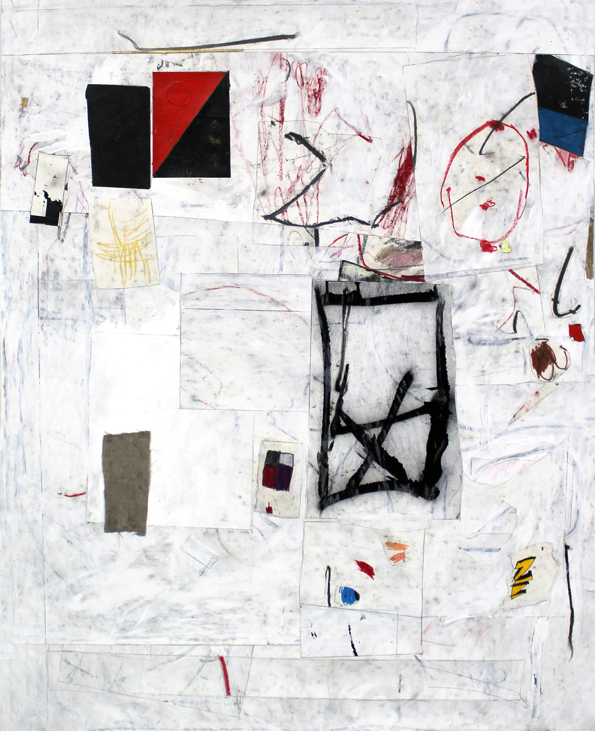 "JOSEPH HART   Untitled , collaged paper, acrylic, oil crayon and graphite on paper, 44"" x 36"" (framed), 2013"