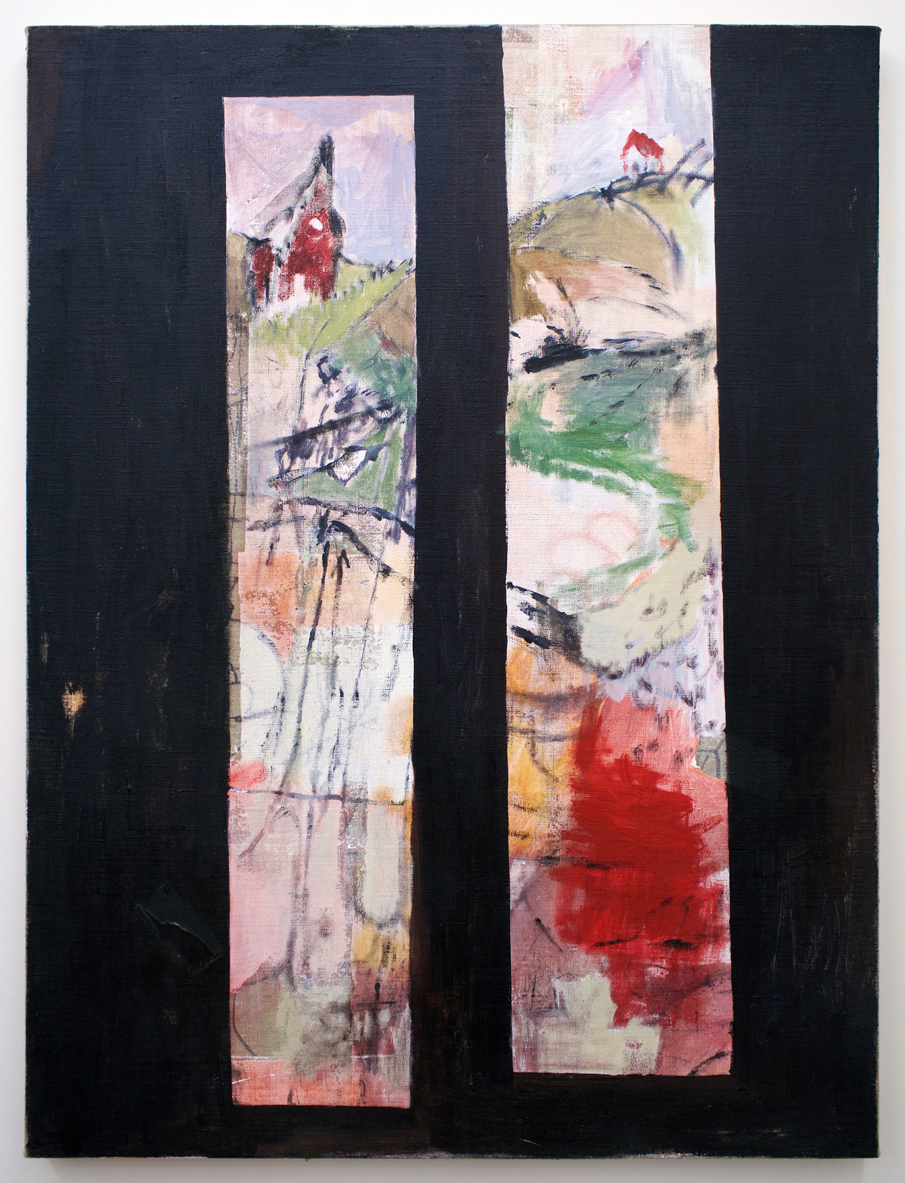 "TED GAHL   Scene in Towers (G.M.) , 2017, oil, acrylic, graphite, wood on linen, 48"" x 36"""