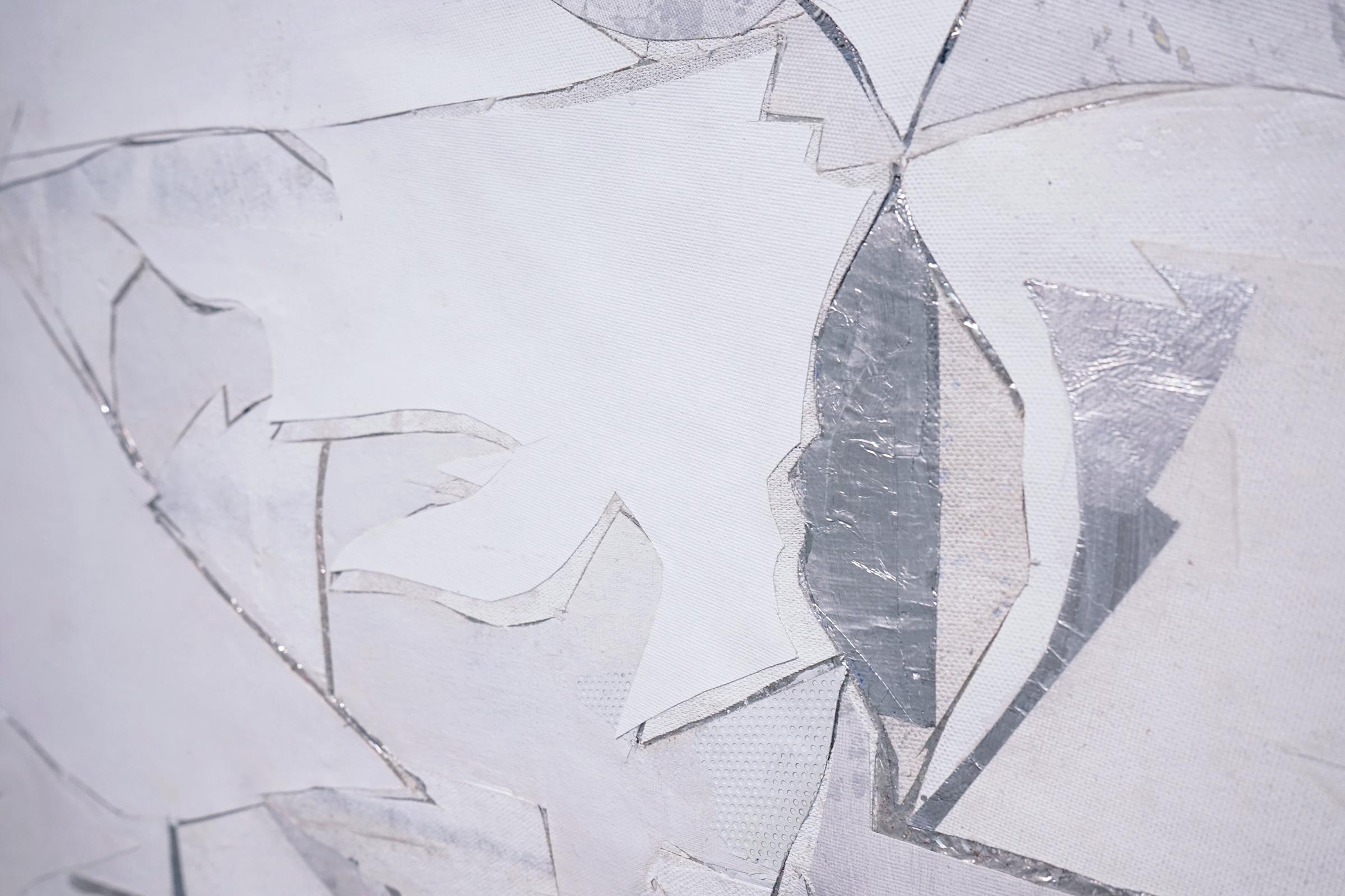 """RYAN WALLACE  (detail) Lenakaeia 2 , enamel, acrylic, canvas, linen, aluminum, fiberglass, 48"""" x 58"""", 2017"""