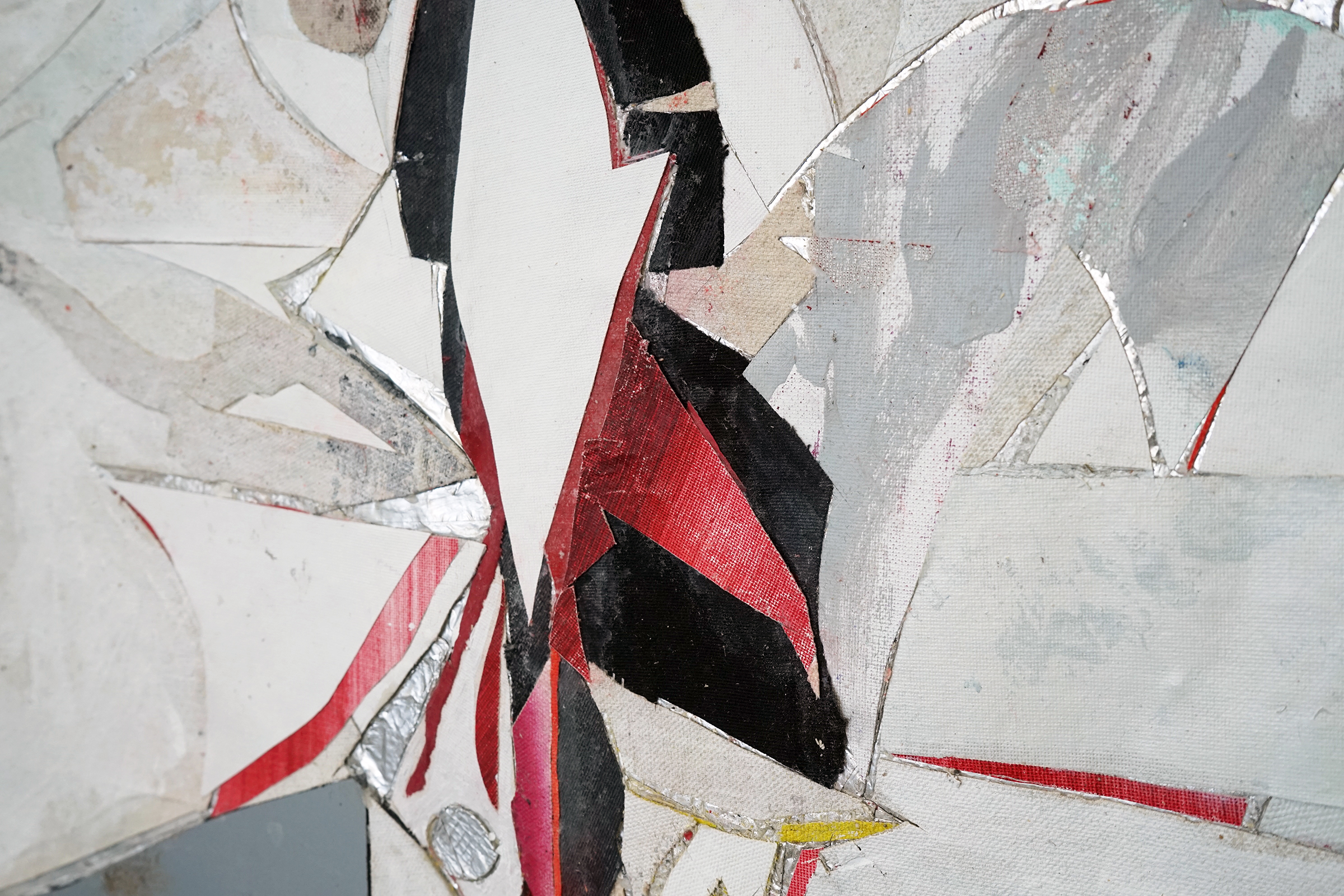 """RYAN WALLACE  (detail) Lenakaeia 3 , enamel, acrylic, canvas, linen, aluminum, fiberglass, 48"""" x 58"""", 2017"""