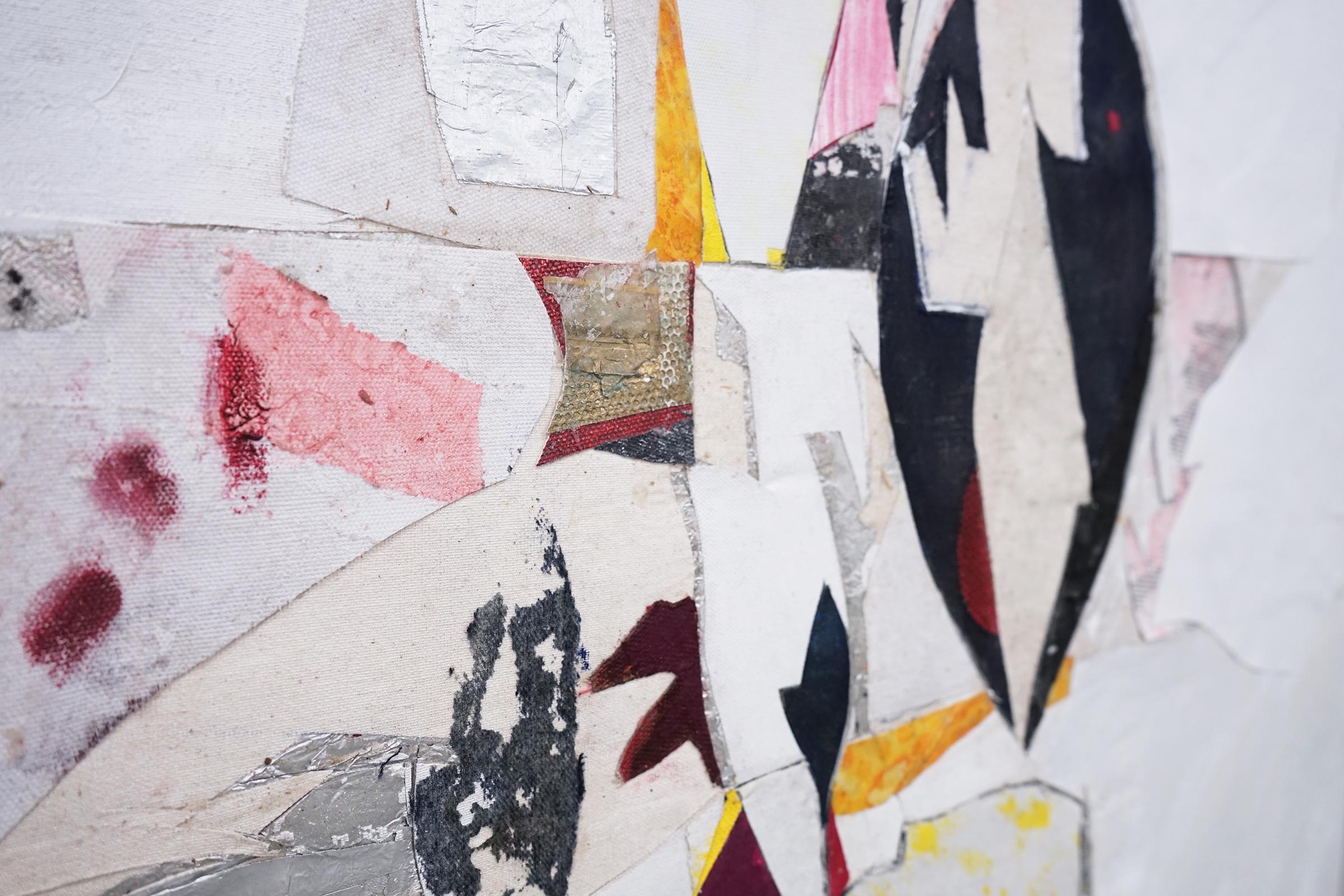 """RYAN WALLACE   (detail) Untitled (Lenakaeia) 3 , oil, enamel, acrylic, vinyl, aluminum, fiberglass, paper, canvas, linen, 40"""" x 30"""", 2017"""