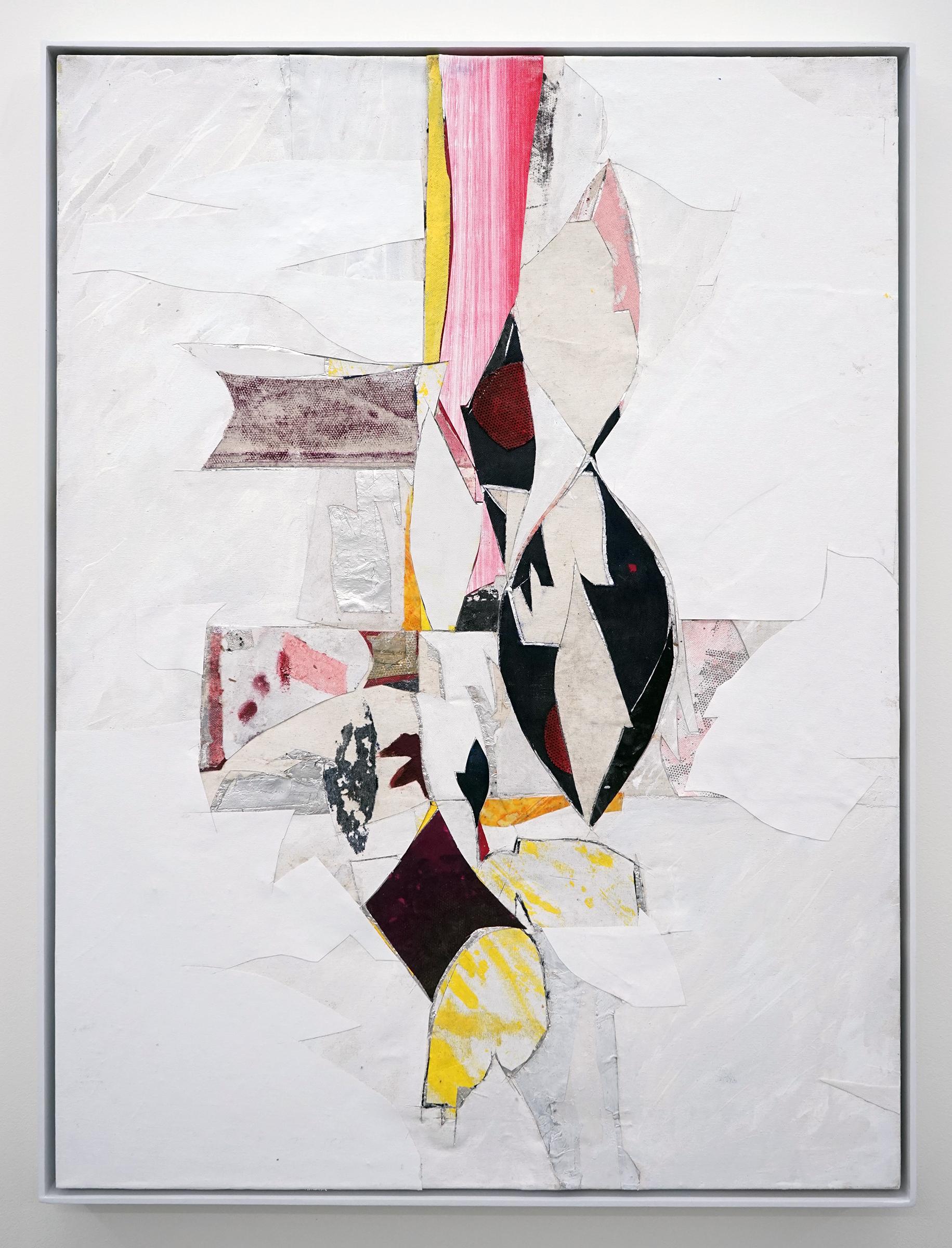 """RYAN WALLACE   Untitled (Lenakaeia) 3 , oil, enamel, acrylic, vinyl, aluminum, fiberglass, paper, canvas, linen, 40"""" x 30"""", 2017"""