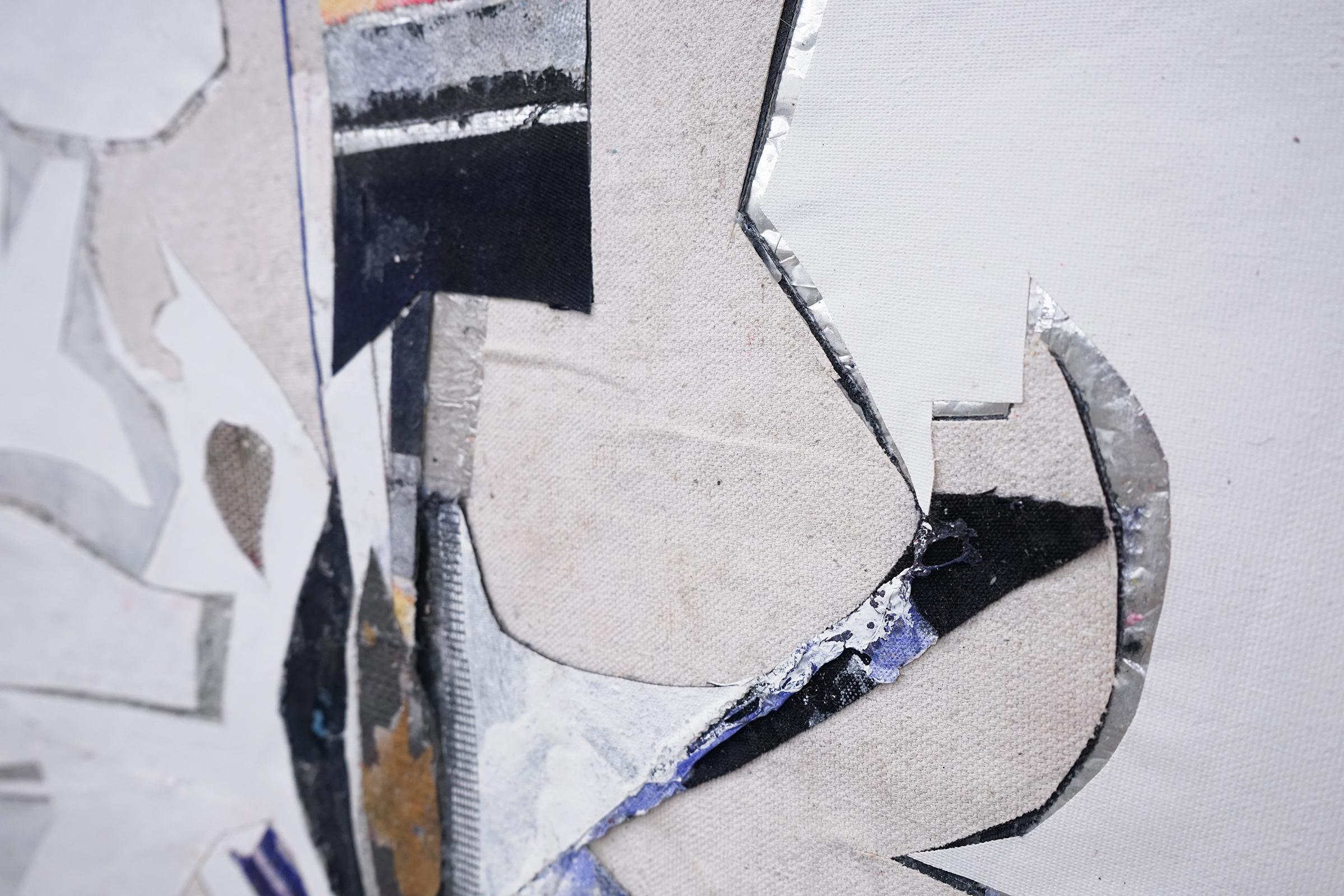 """RYAN WALLACE  (detail) Untitled (Lenakaeia) 5 , oil, enamel, acrylic, vinyl, aluminum, fiberglass, denim, canvas, linen, 40"""" x 30"""", 2017"""
