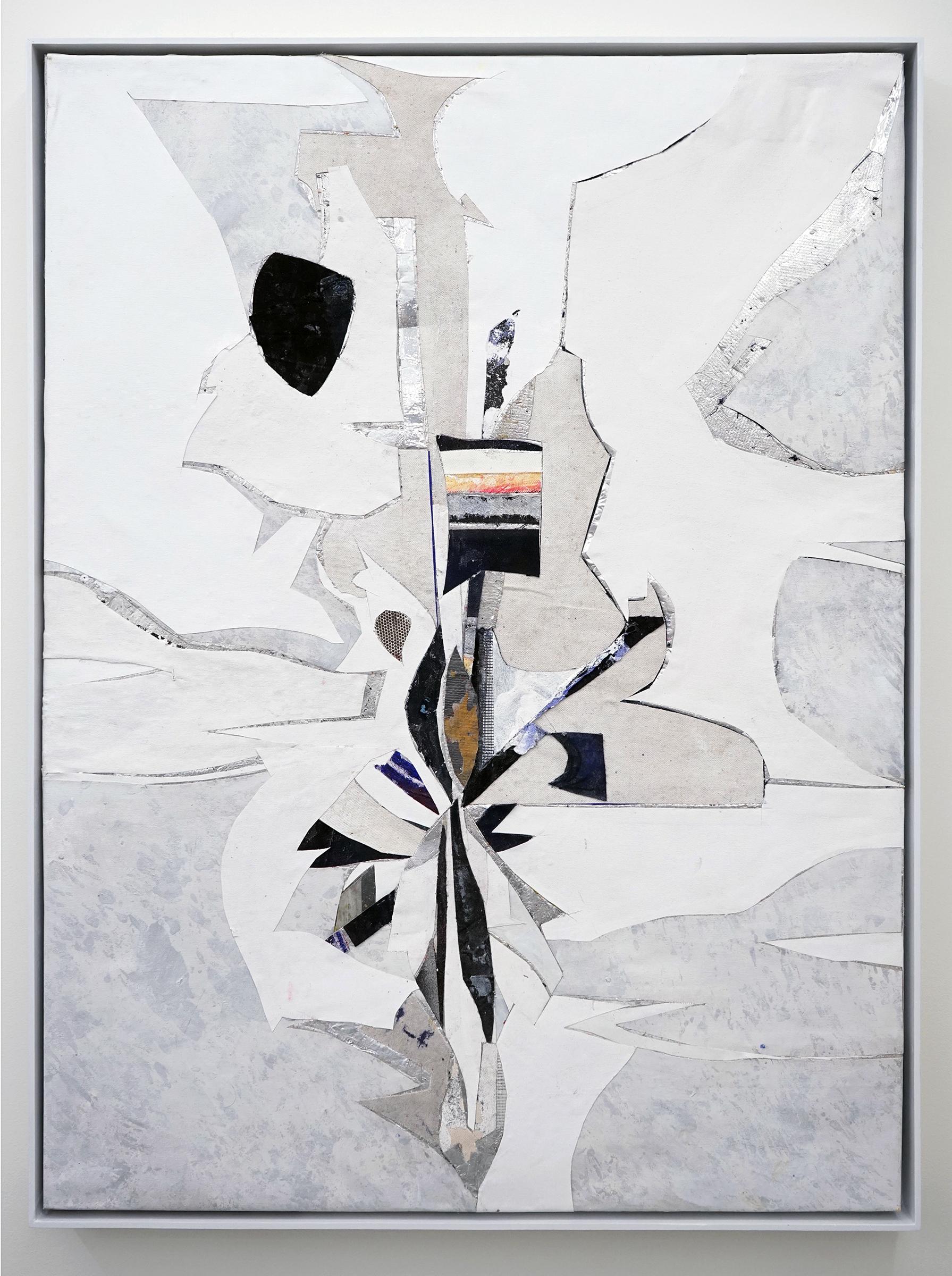 """RYAN WALLACE   Untitled (Lenakaeia) 5 , oil, enamel, acrylic, vinyl, aluminum, fiberglass, denim, canvas, linen, 40"""" x 30"""", 2017"""