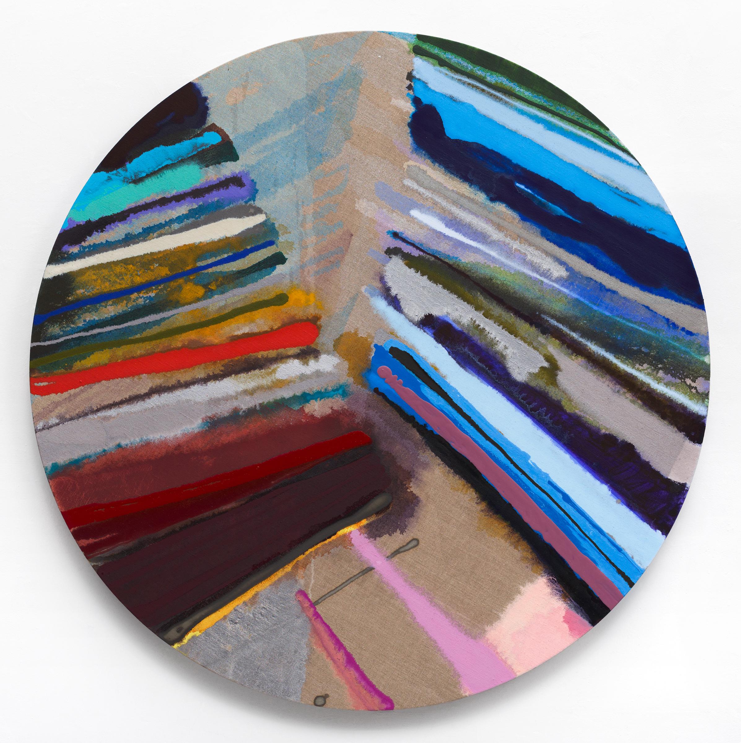 """PAMELA JORDEN   Broken Chord , 2016, oil and graphite on linen, 44"""" diameter"""