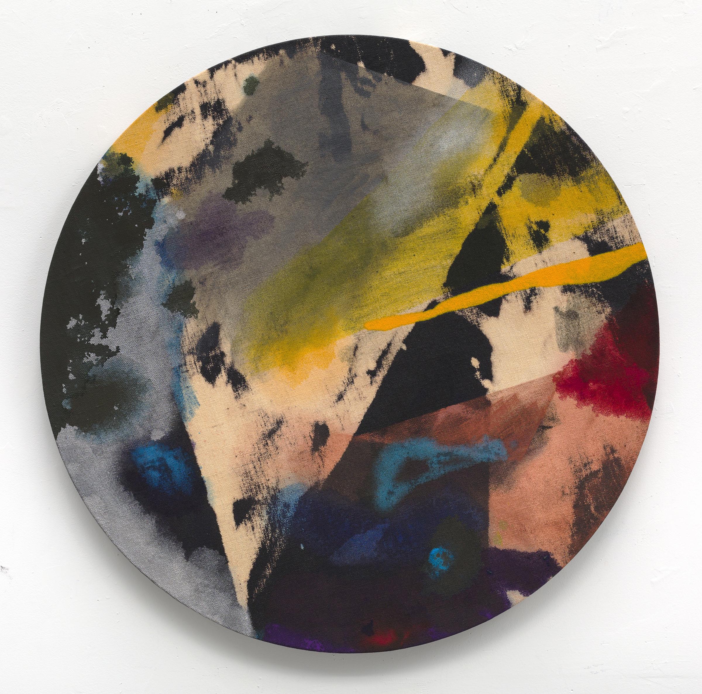 """PAMELA JORDEN   Phosphor, 2016, oil and bleach on linen, 30"""" diameter"""