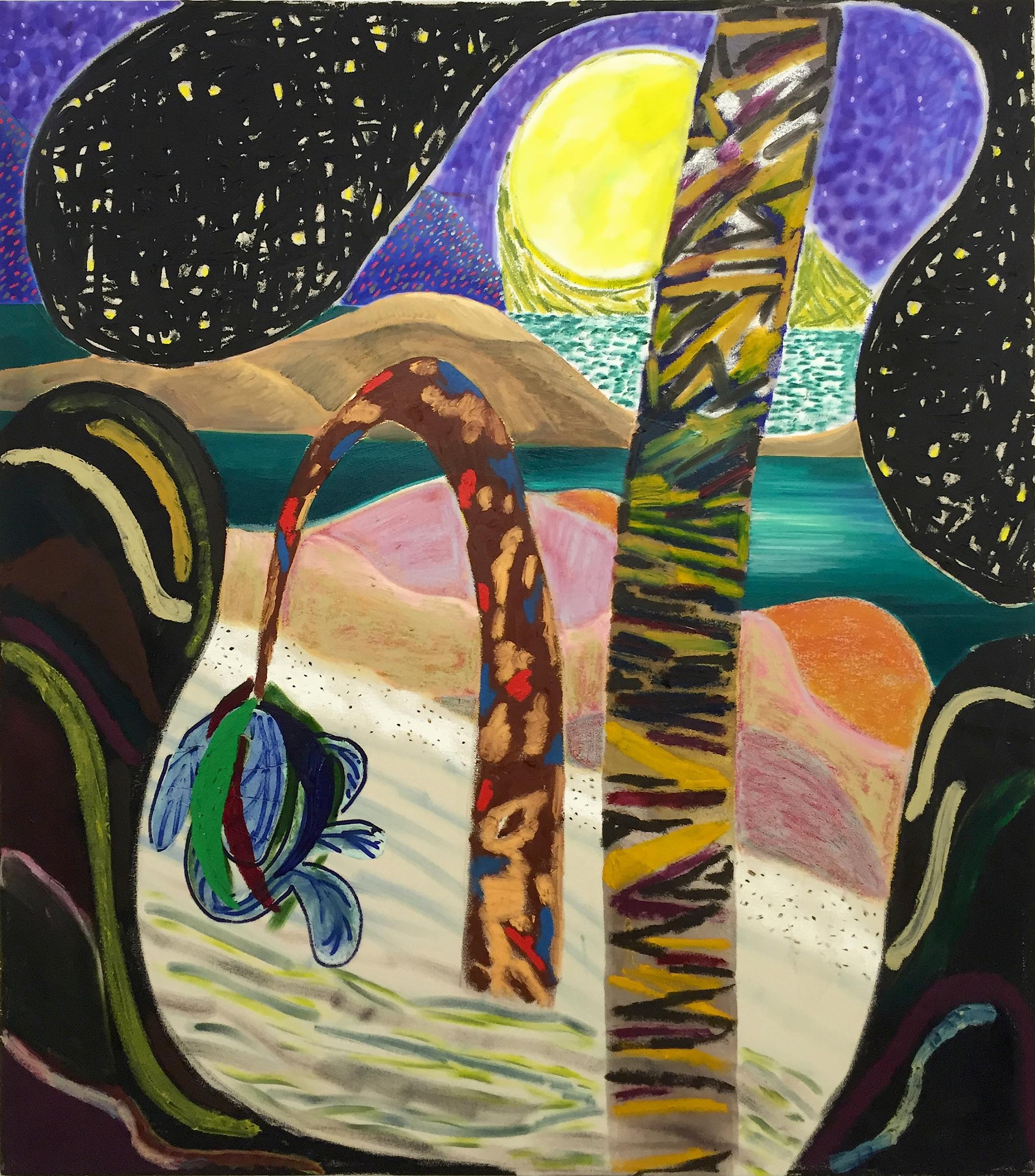 """SHARA HUGHES   Sandman , 2016, oil, acrylic, chalk and airbrush on canvas, 54"""" x 48"""""""