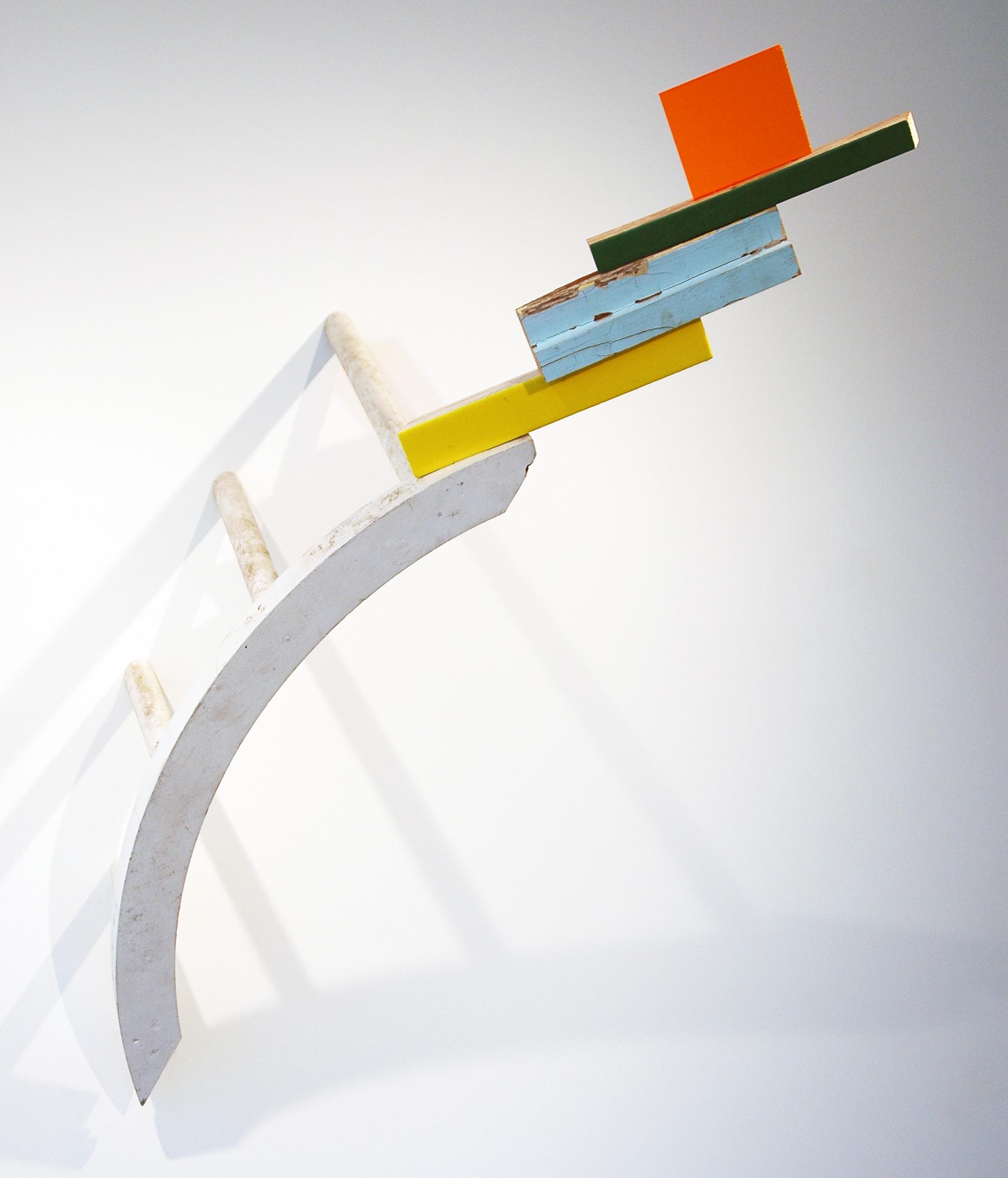 "KIRK STOLLER  Untitled (rainbow), wood, acrylic, plexiglass and resin, 29"" x 24"" x 42"""