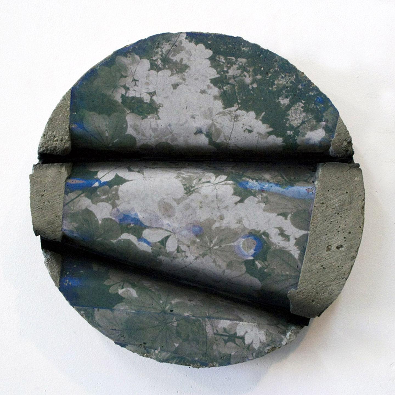 """WITH CINDER BLOCKS WE FLATTEN OUR PHOTOGRAPHS  Letha Wilson, Black Foliage Concrete Bend , concrete, c-print emulsion transfer, paint, 11.5"""" x 11.5"""" x 2"""", 2012"""
