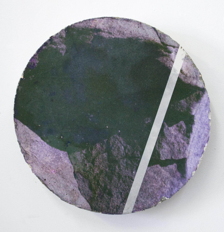 "WITH CINDER BLOCKS WE FLATTEN OUR PHOTOGRAPHS  Letha Wilson, Bonita Cove Concrete Tondo , concrete, c-print emulsion transfer, 11.5"" x11.5"", 2013"