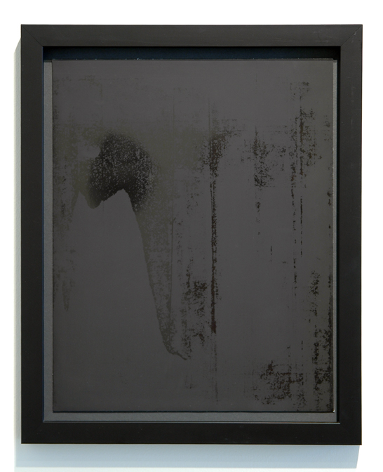 "WITH CINDER BLOCKS WE FLATTEN OUR PHOTOGRAPHS  C. Wright Daniel, Untitled (Burnished 2) , unique silver gelatin print, 16.25"" x 13.25"" (framed), 2013"