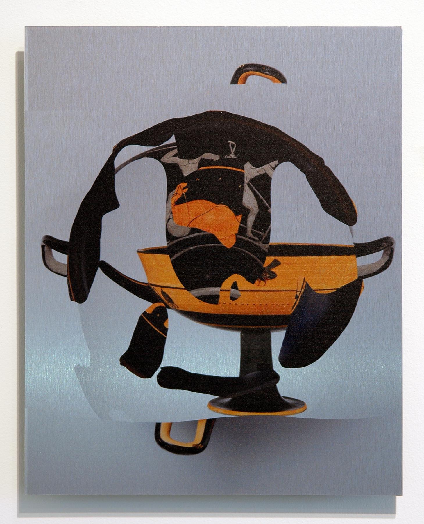 "WITH CINDER BLOCKS WE FLATTEN OUR PHOTOGRAPHS  Deric Carner, Kylix , pigment print on brushed aluminum, unique, 15"" x 12"", 2013"