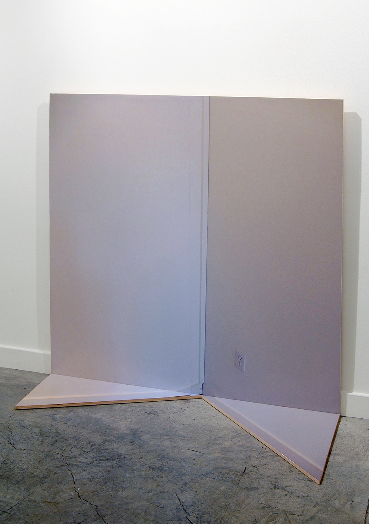 "WITH CINDER BLOCKS WE FLATTEN OUR PHOTOGRAPHS  Emma Spertus, Corner , ink jet print on plywood, 44"" x 44"" x 16.25"", 2013"
