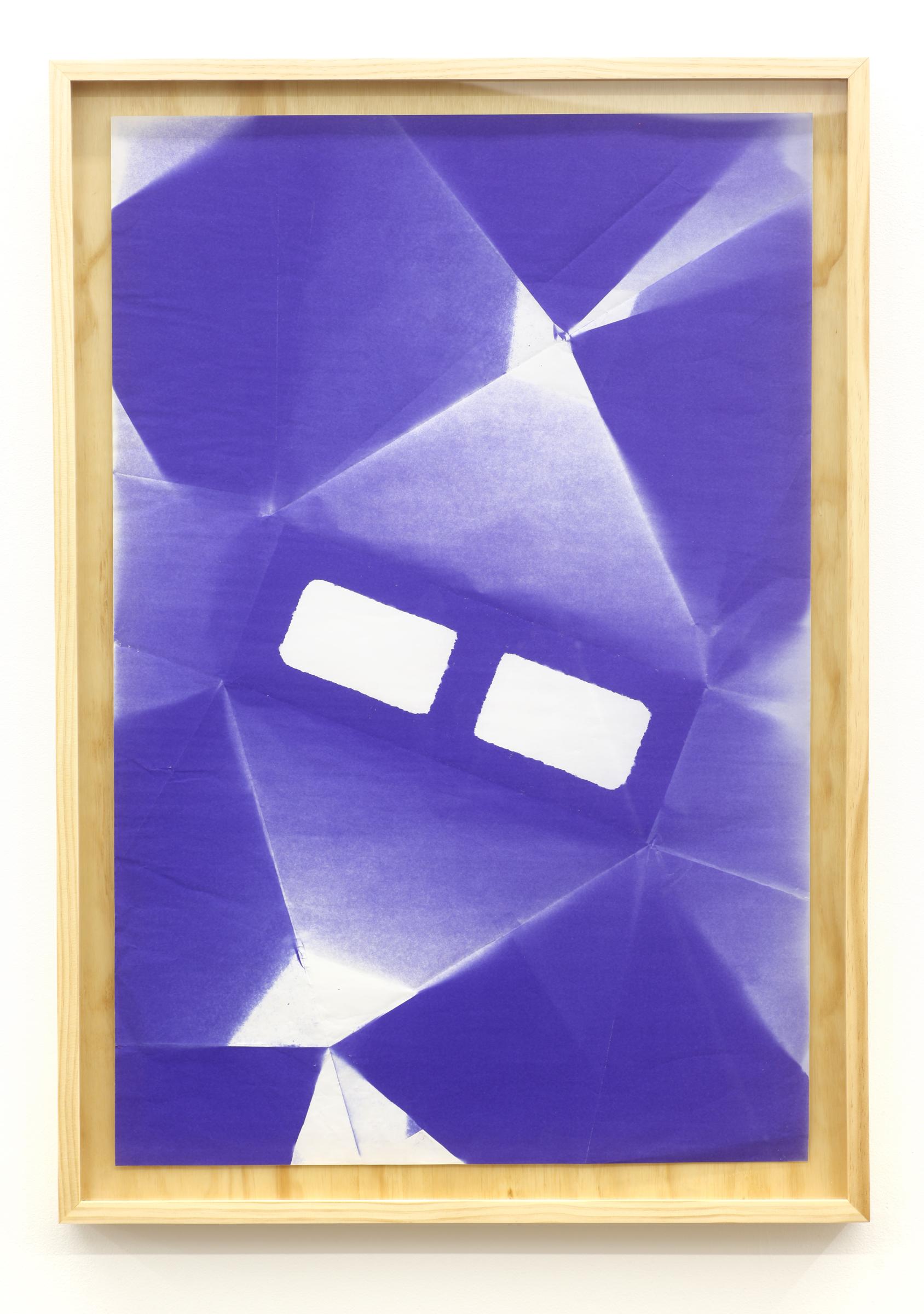 "WITH CINDER BLOCKS WE FLATTEN OUR PHOTOGRAPHS  Jonathan Runico, Untitled (C.M.U.) , Diazo blueprint and artist built custom plywood frame, 40"" x 28"" x 3"", 2013"