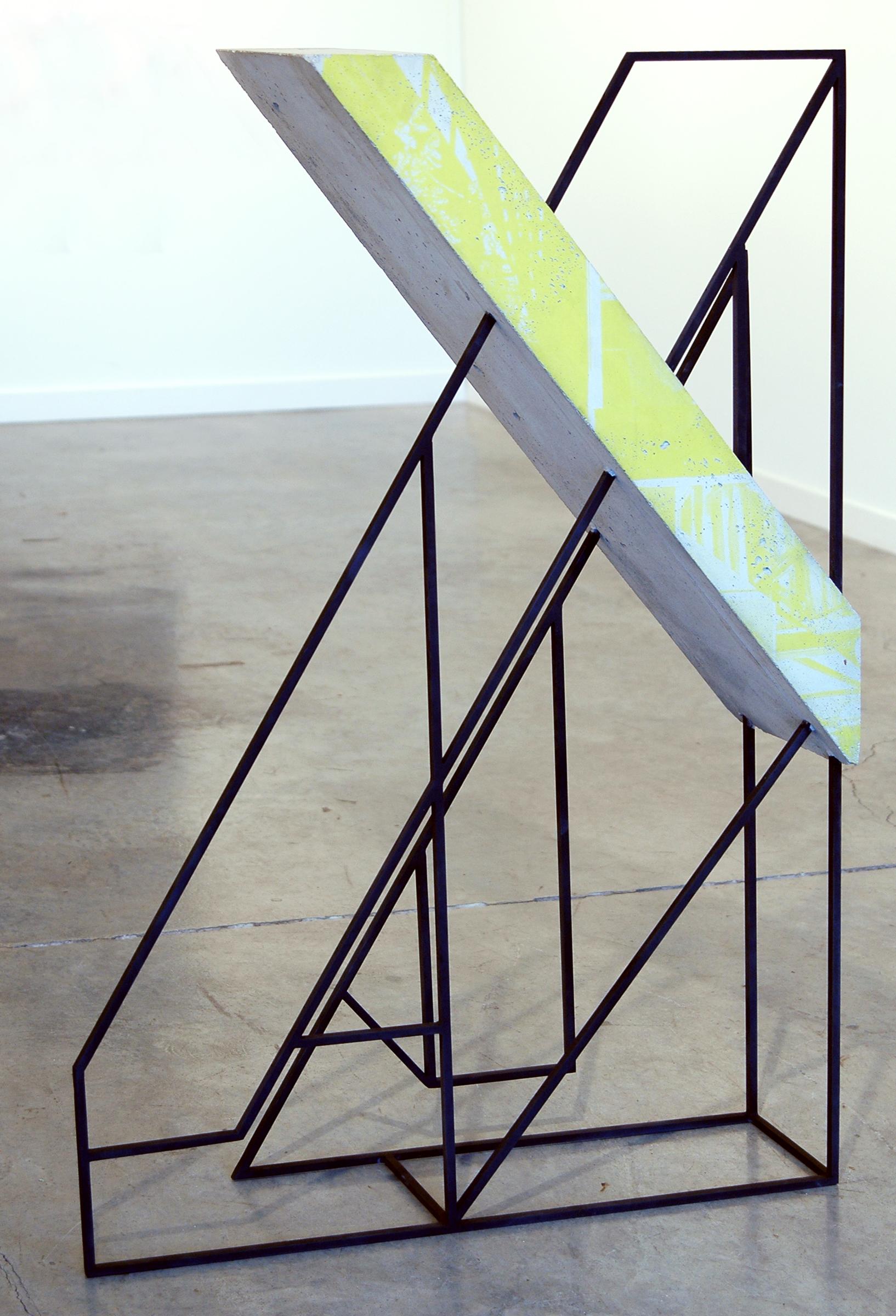 "WITH CINDER BLOCKS WE FLATTEN OUR PHOTOGRAPHS  Jonathan Runcio, Model 3 , steel, primer, concrete and screen-print, 49"" x 33.5"" x 9.5"", 2012"