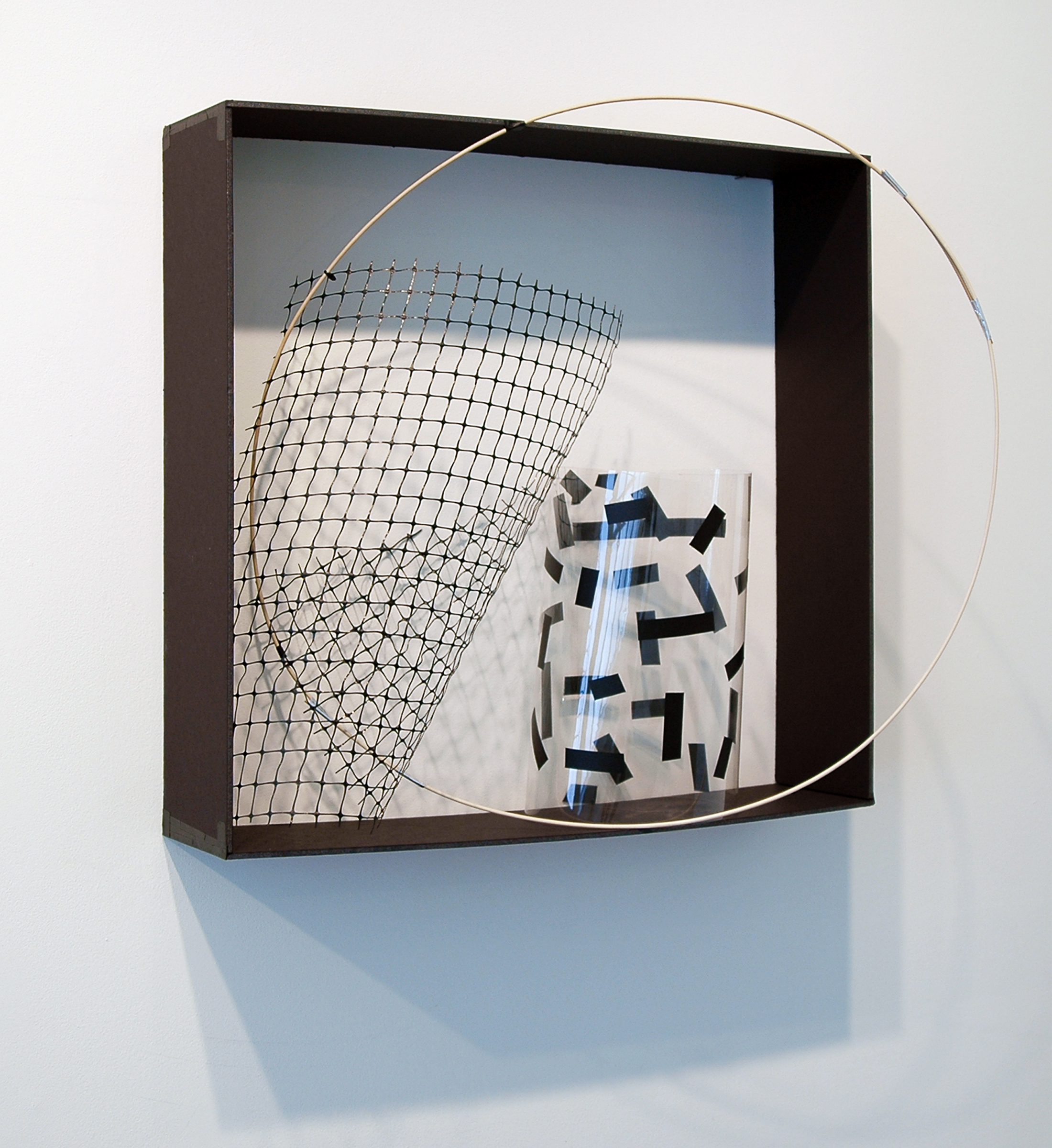 """ALICE CATTANEO   The piece in the box , 2013, foam board, plastic, tape, plastic netting, balsa wood, cable ties, 25"""" x 24.75"""" x 12"""""""