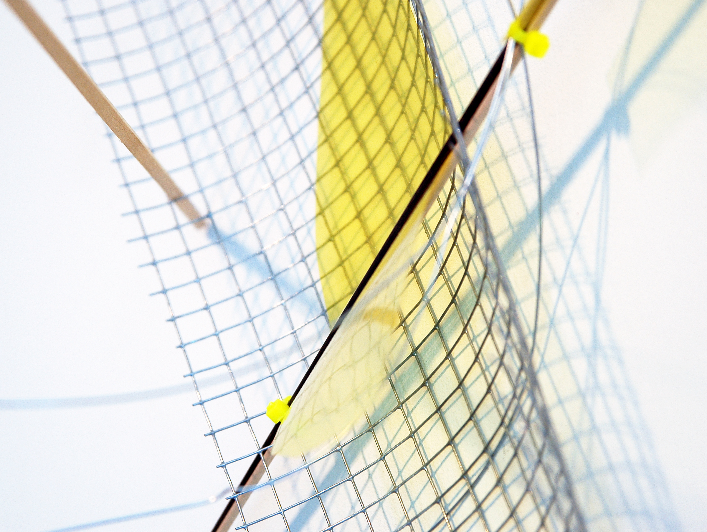 """ALICE CATTANEO   (detail) Untitled , 2013, iron netting, balsa wood, iron, yellow acetate, cable ties, wire, 37.5"""" x 40"""" x 17.5"""""""