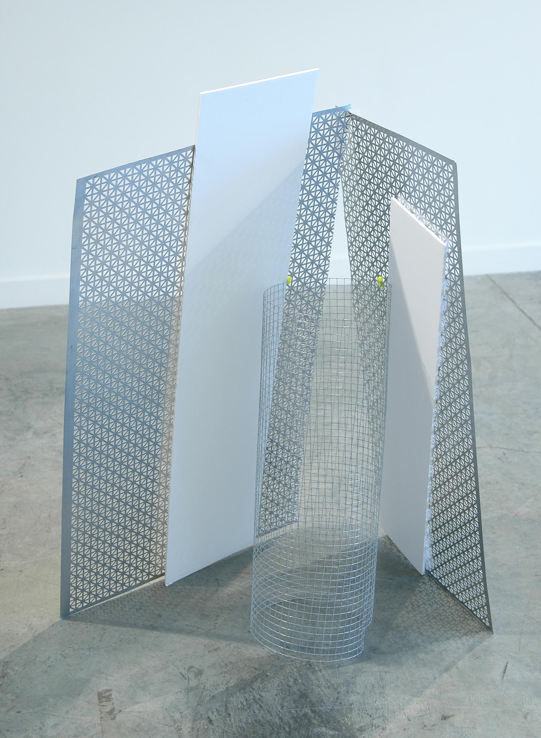 """ALICE CATTANEO   Forma cercata per non cercarla, 2013, foam board, iron netting, cable ties, perforated aluminium, 39"""" x 22"""" x 16"""""""