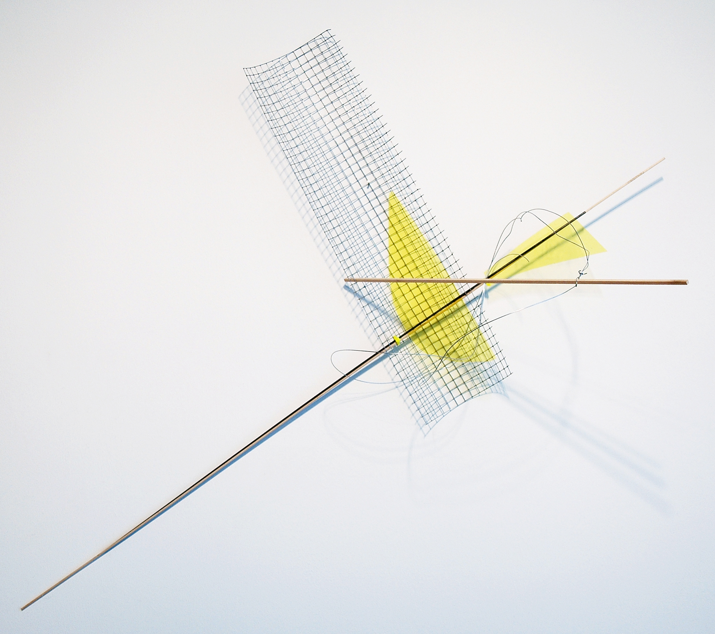 """ALICE CATTANEO   Untitled , 2013, iron netting, balsa wood, iron, yellow acetate, cable ties, wire, 37.5"""" x 40"""" x 17.5"""""""