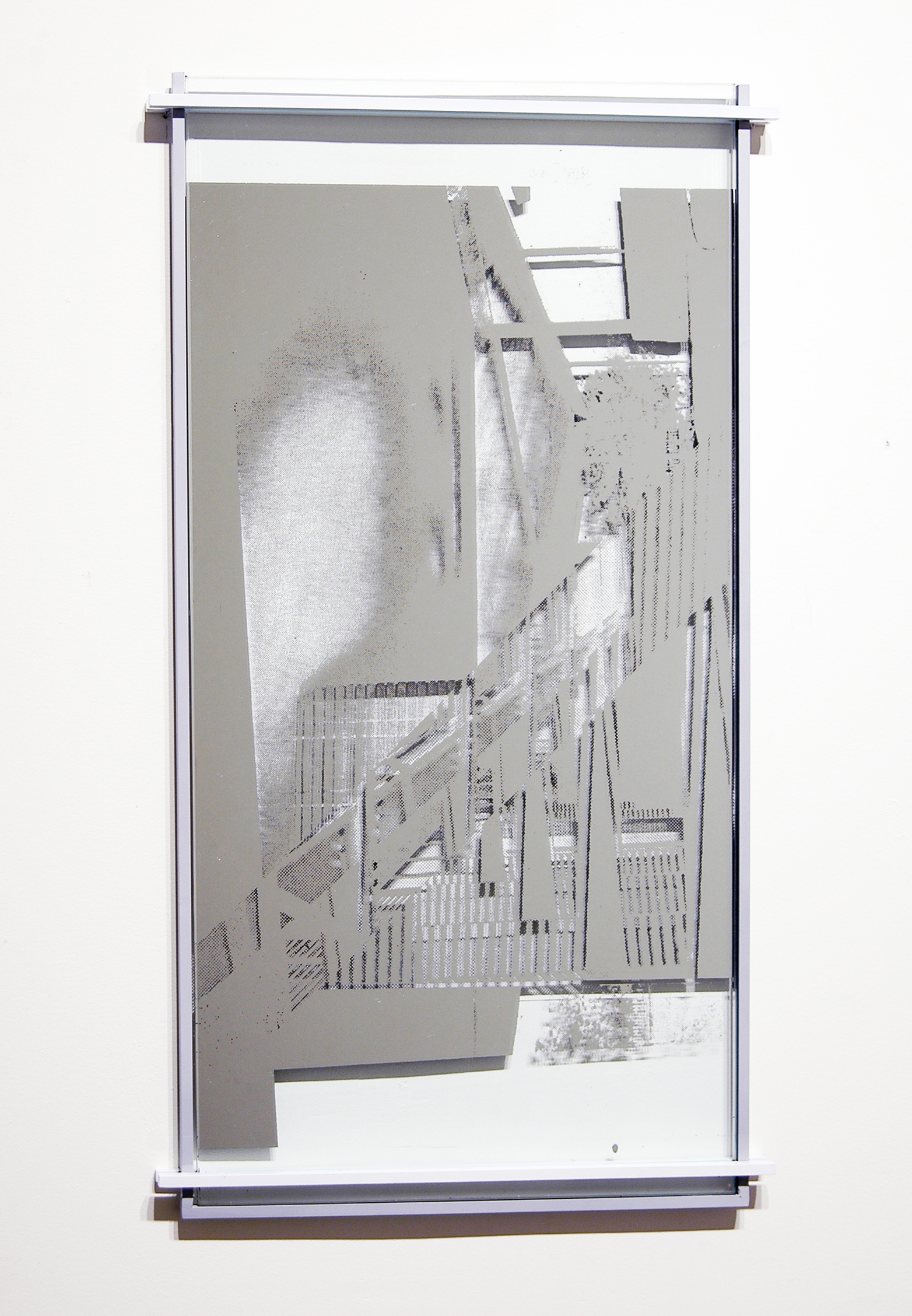 "JONATHAN RUNCIO   Untitled , mirror, screen-print, steel and paint, 24.5"" x 13.75"", 2013"