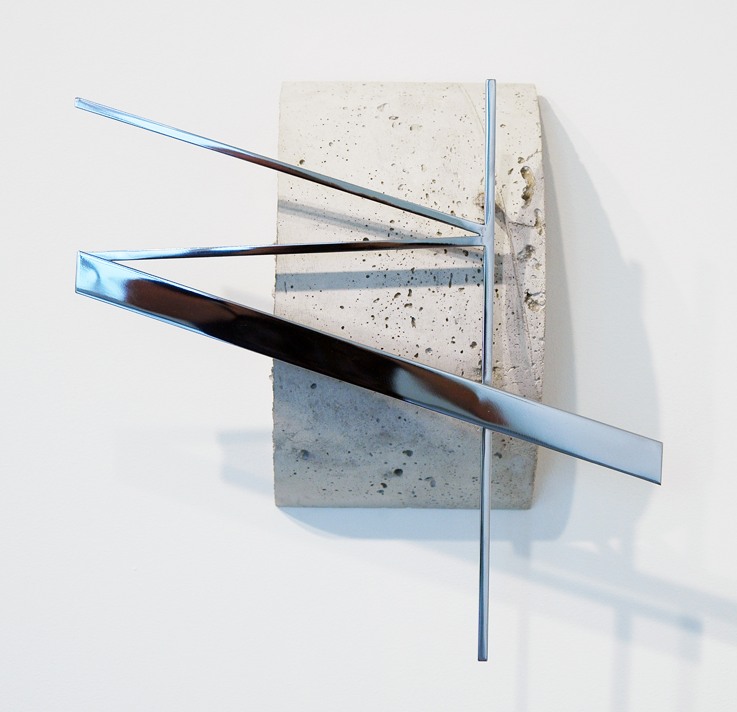 "JONATHAN RUNCIO   Untitled , concrete, stainless steel, 14.25"" x 14.5"" x 5"", 2013"