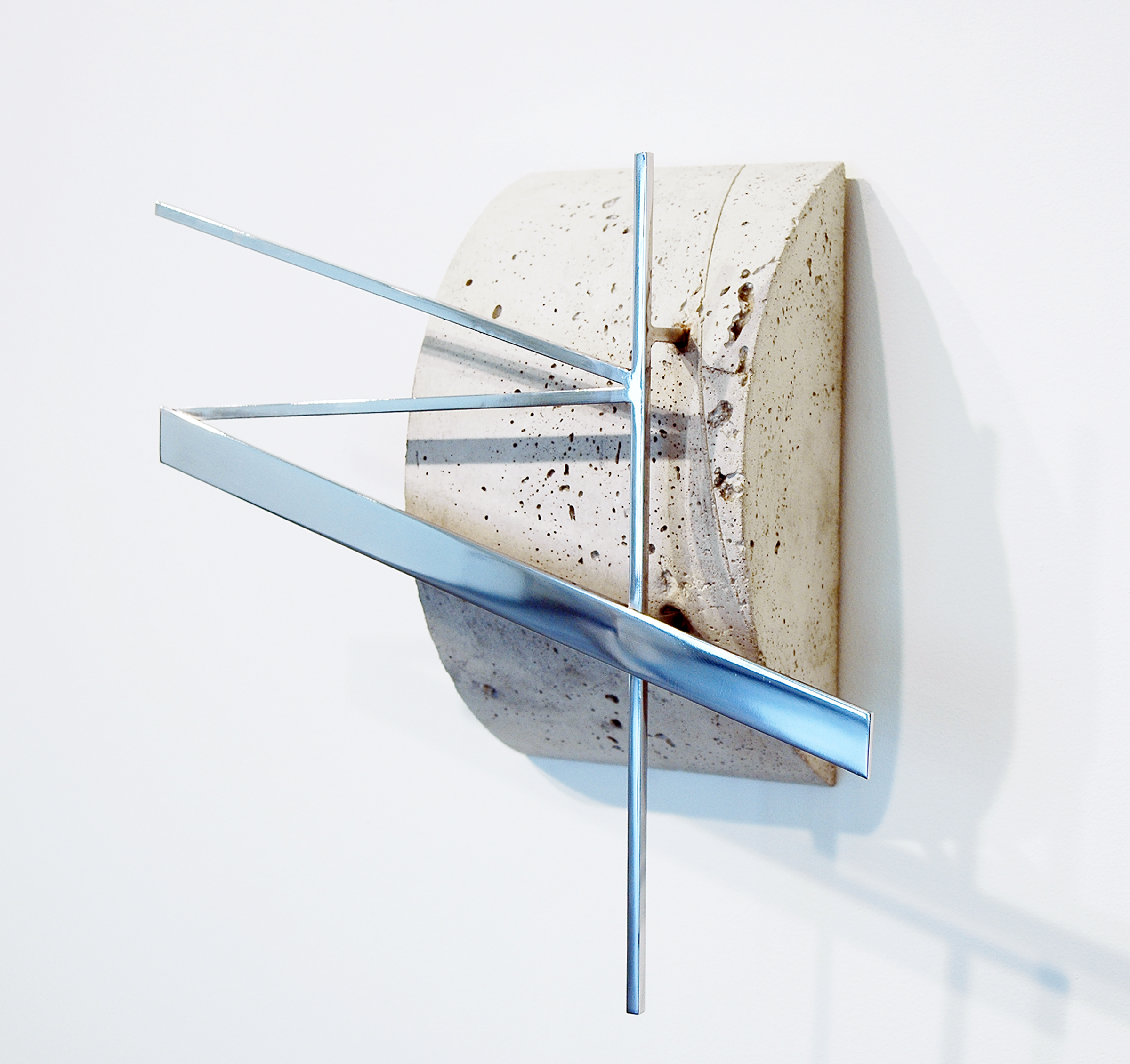 "JONATHAN RUNCIO  (side view)  Untitled , concrete, stainless steel, 14.25"" x 14.5"" x 5"", 2013"