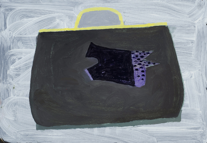 """CHRISTOPH ROßNER   Koffer  (Suitcase), oil and acrylic on cardboard mounted to wood frame, 11.5"""" x 16.25"""", 2013"""