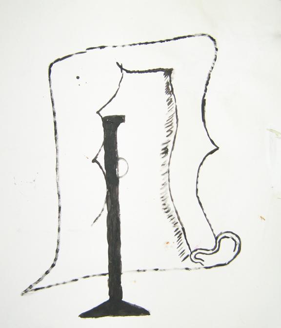 "CHRISTOPH ROßNER   Perücke  (Wig), india ink on paper, 23"" x19.75"", 2013"