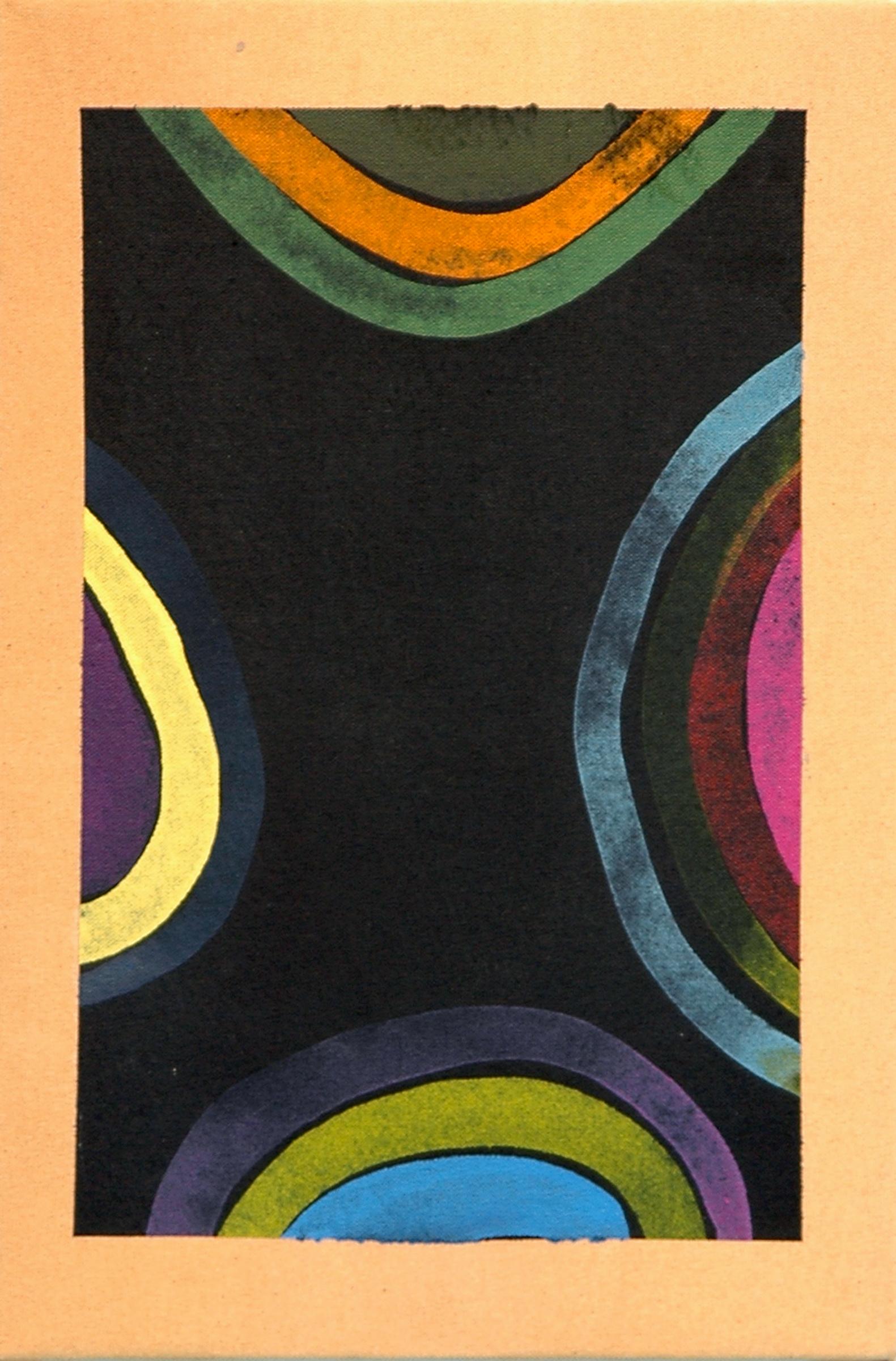 "AMANDA CURRERI   Untitled , acrylic and gesso on dyed fabric, 15"" x 10"", 2012"