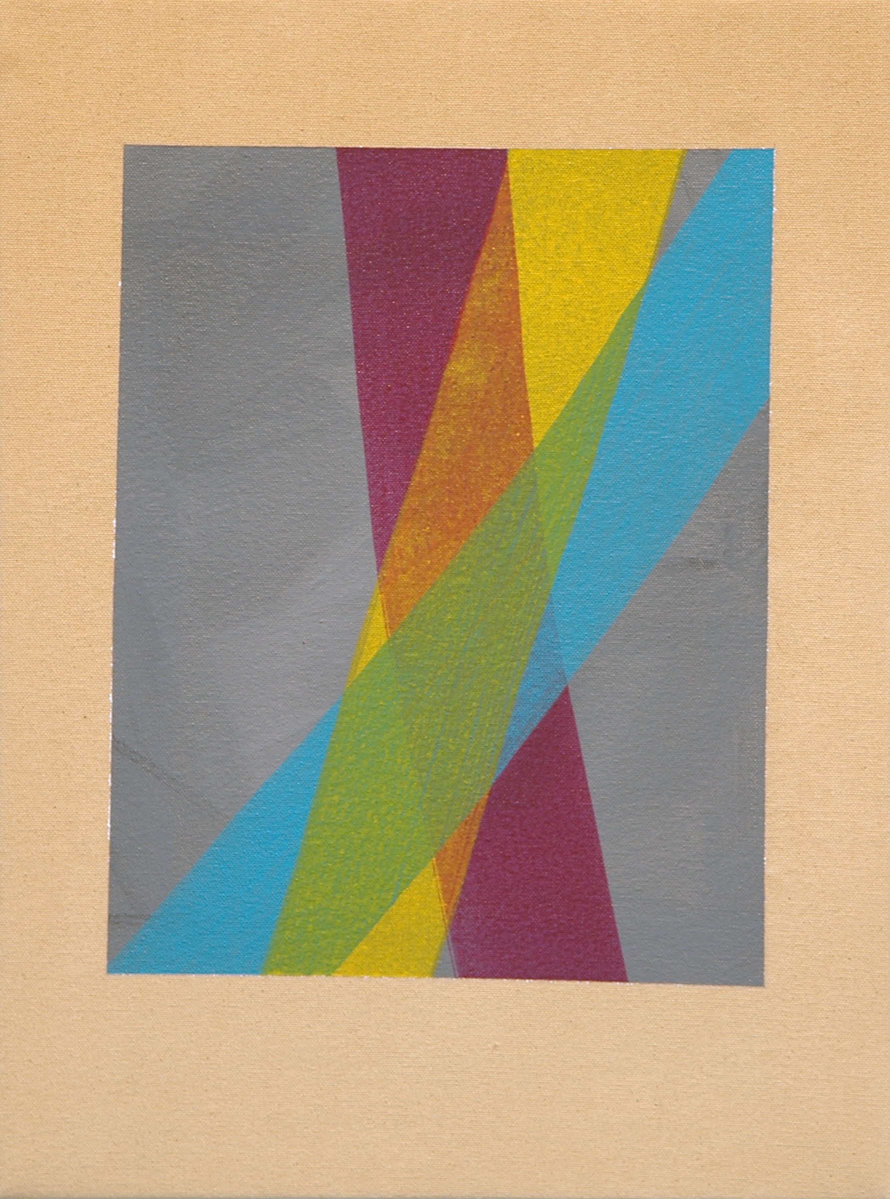 "AMANDA CURRERI   Untitled , acrylic and gesso on dyed fabric, 16"" x 12"", 2012"