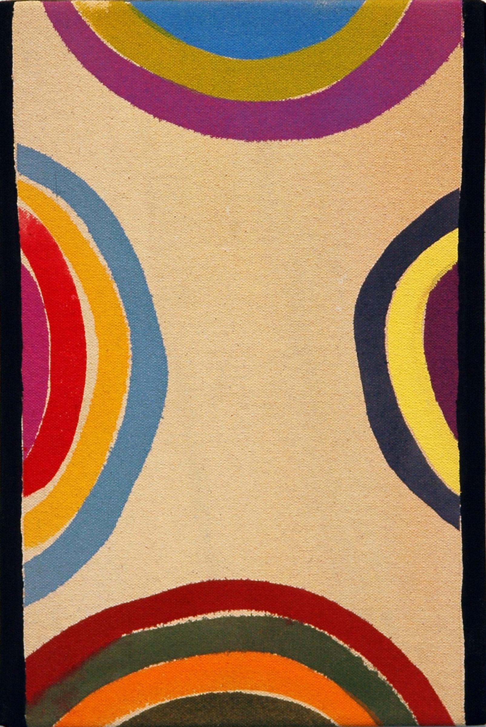 "AMANDA CURRERI   Untitled , acrylic and gesso on dyed fabric, 12"" x 8"", 2012"
