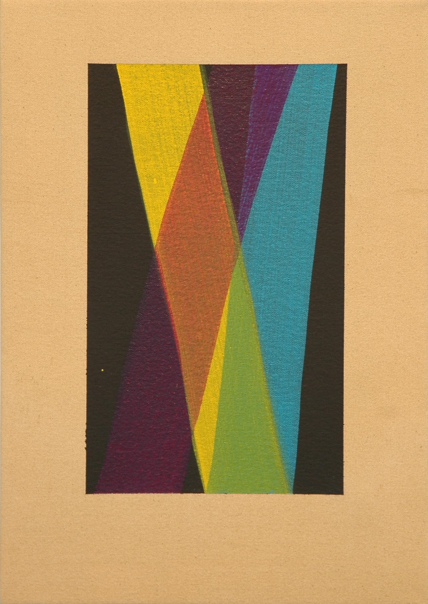 "AMANDA CURRERI   Untitled , acrylic and gesso on dyed fabric, 17"" x 12"", 2012"