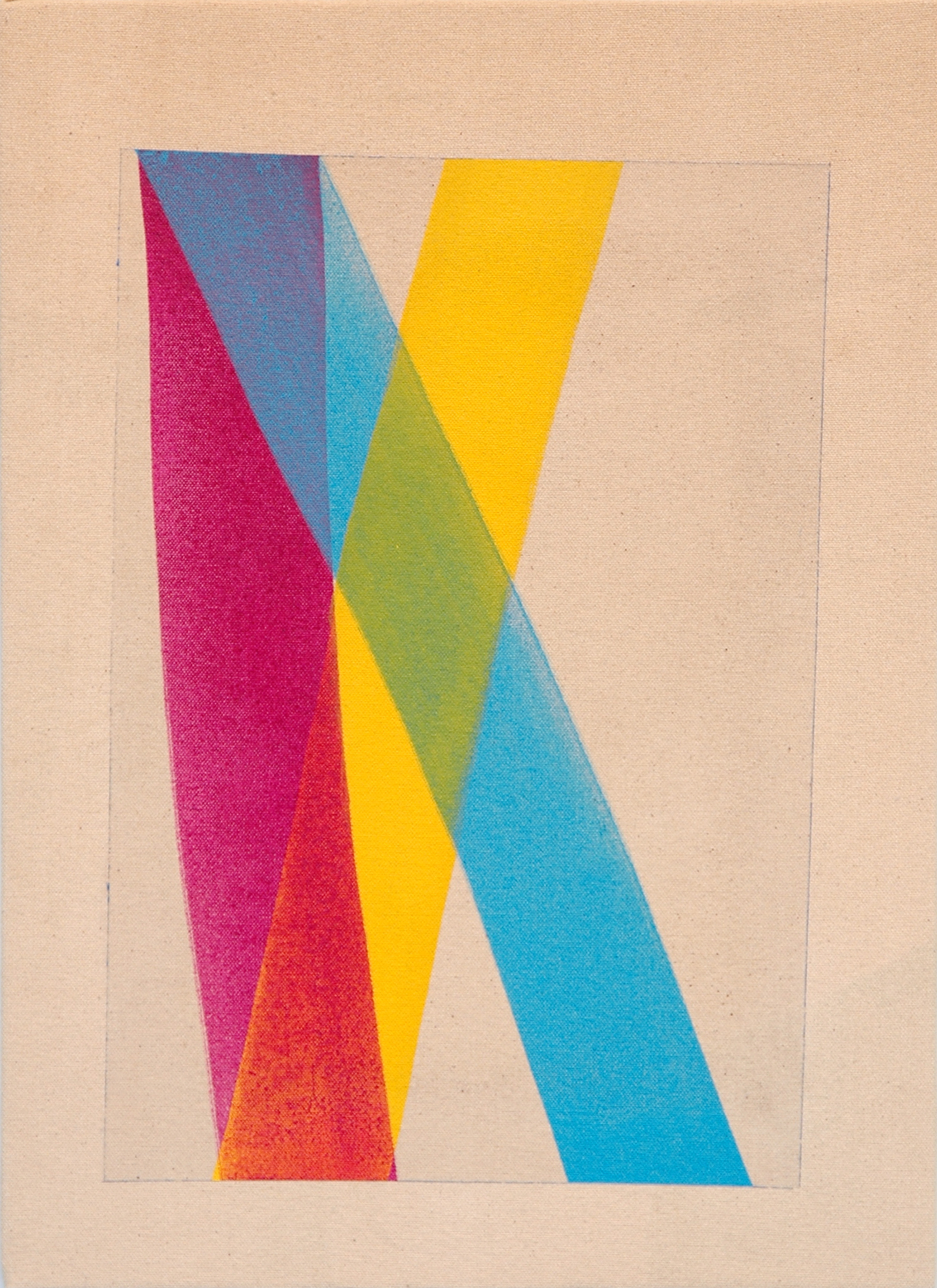 """AMANDA CURRERI   Untitled , acrylic on dyed fabric, 17"""" x 12"""", 2012"""