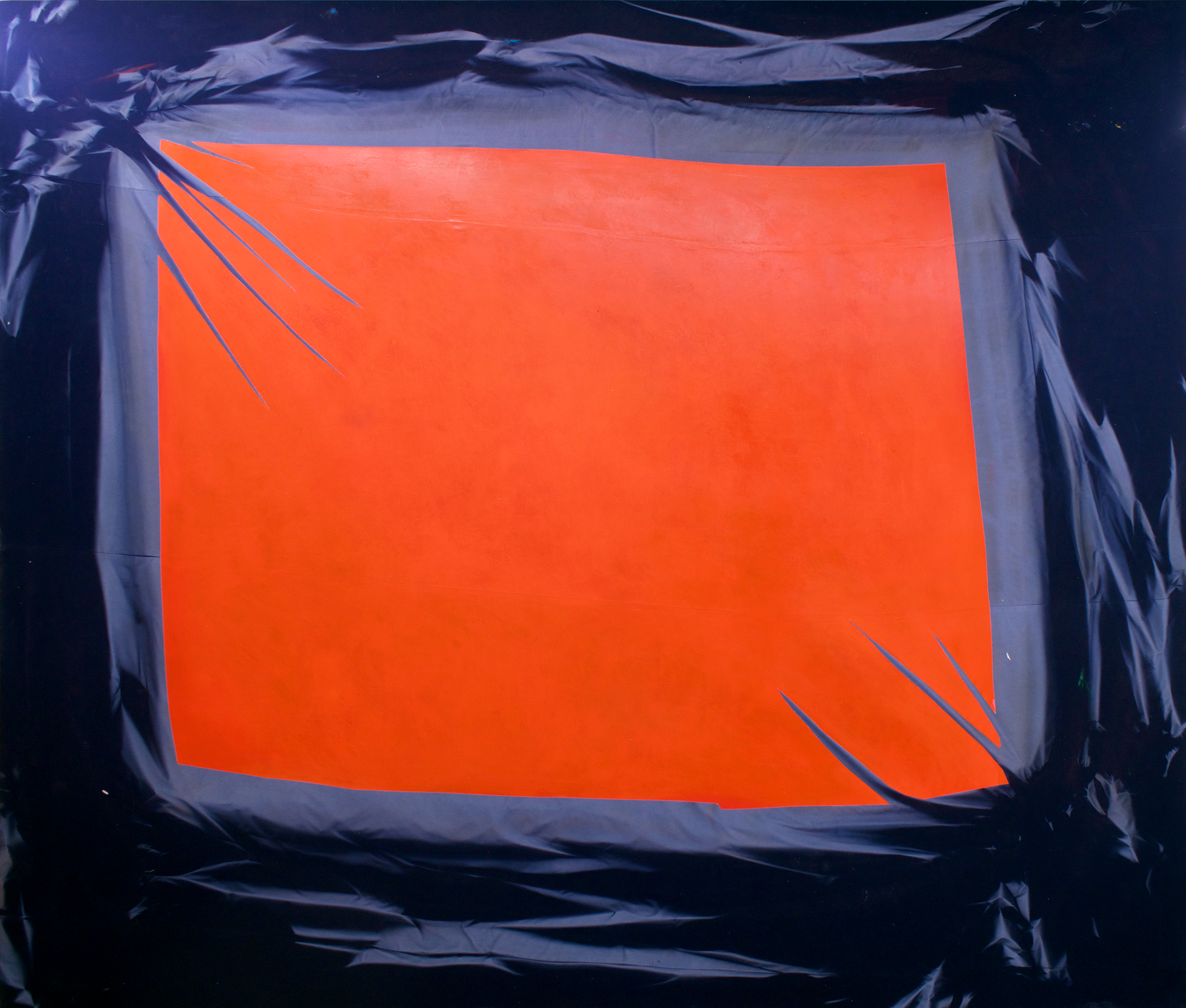 """CHRIS DUNCAN   Skylight – Red & Blue (Summer Solstice-Winter Solstice 2016) 6 Month Exposure/Los Angeles , 2017, sun, time and acrylic on fabric, 120"""" x 137"""""""