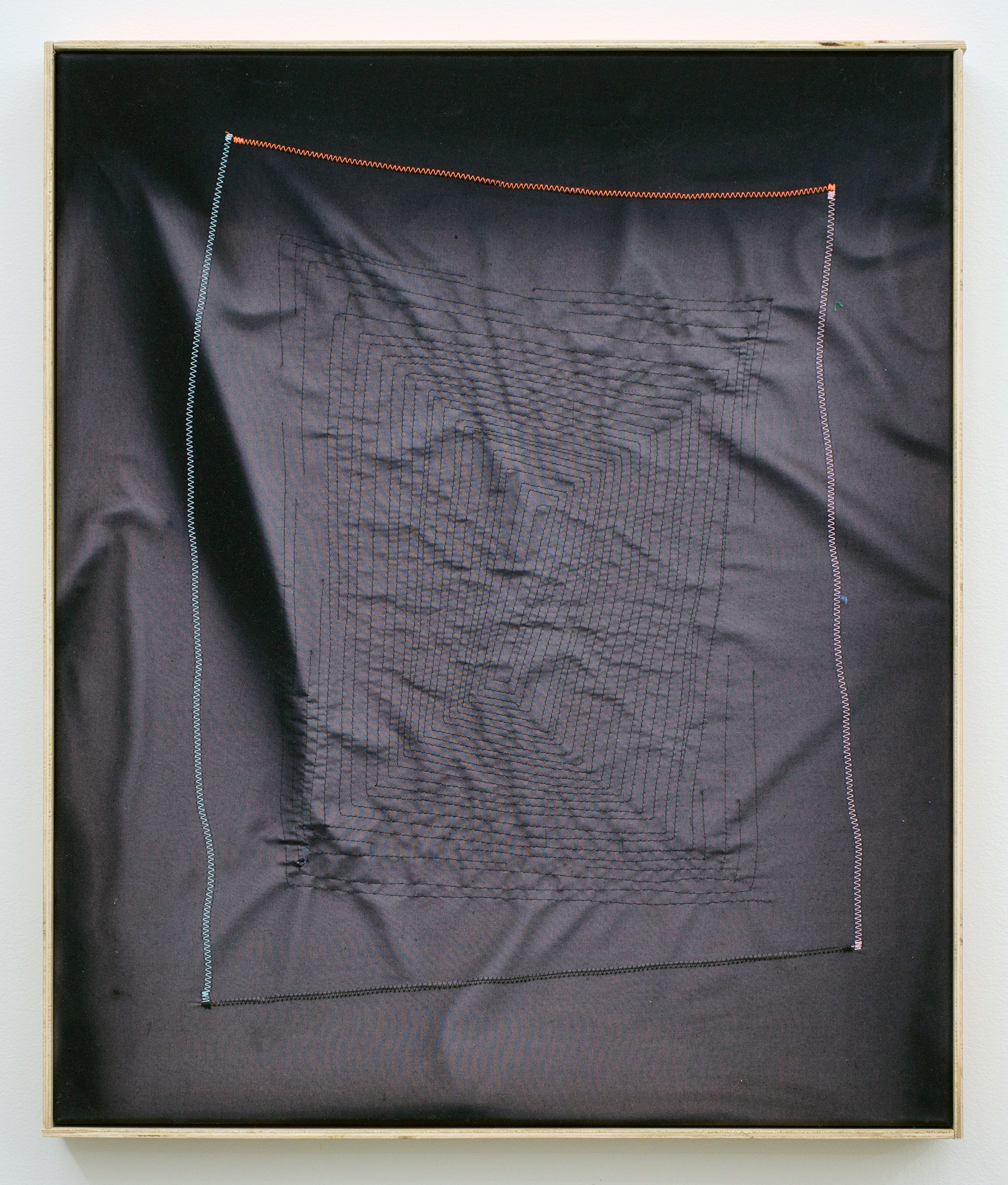 """CHRIS DUNCAN   Ghost Pattern #1 (Summer/Winter 2016) Six-Month Exposure/Oakland , 2017, sun, time and thread on fabric, 24 1/2"""" x 20 1/2"""""""