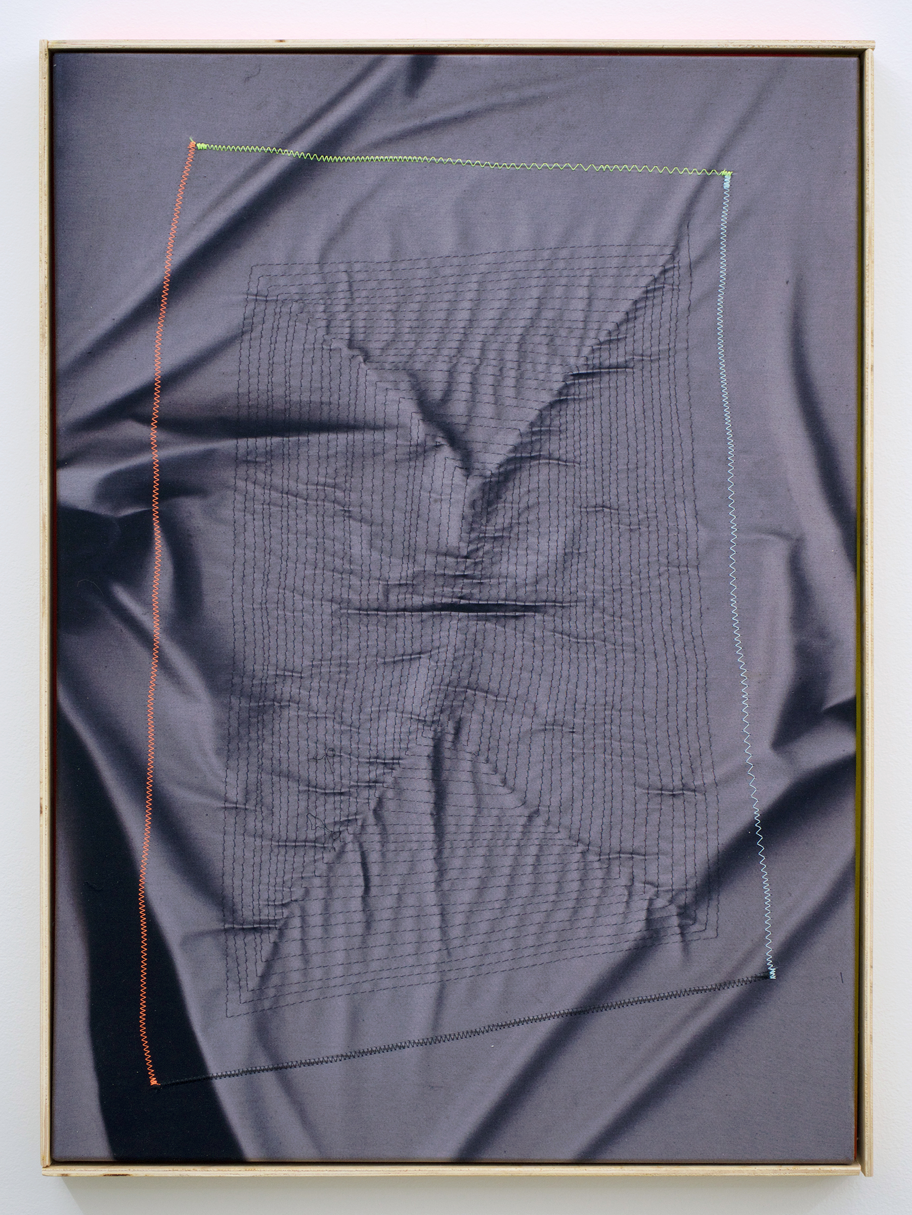 """CHRIS DUNCAN   Ghost Pattern #2 (Summer/Winter 2016) six-month exposure/Oakland , 2017, sun, time and thread on fabric, 28"""" x 24"""""""