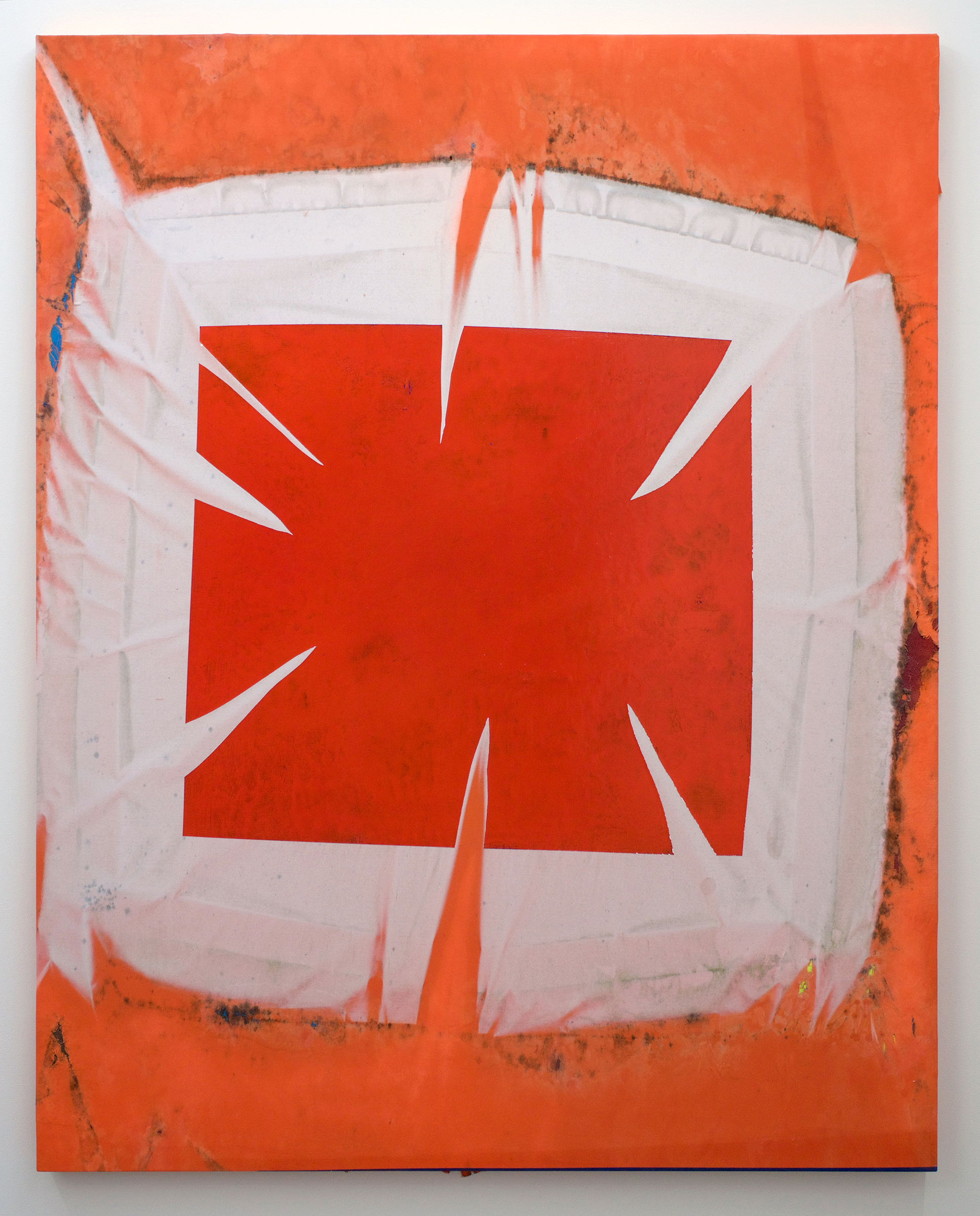 """CHRIS DUNCAN   Red On Orange (Fall 2016 – Spring 2017) six-month exposure/Oakland, 2017 , sun, time and acrylic on fabric, 60"""" x 48"""""""