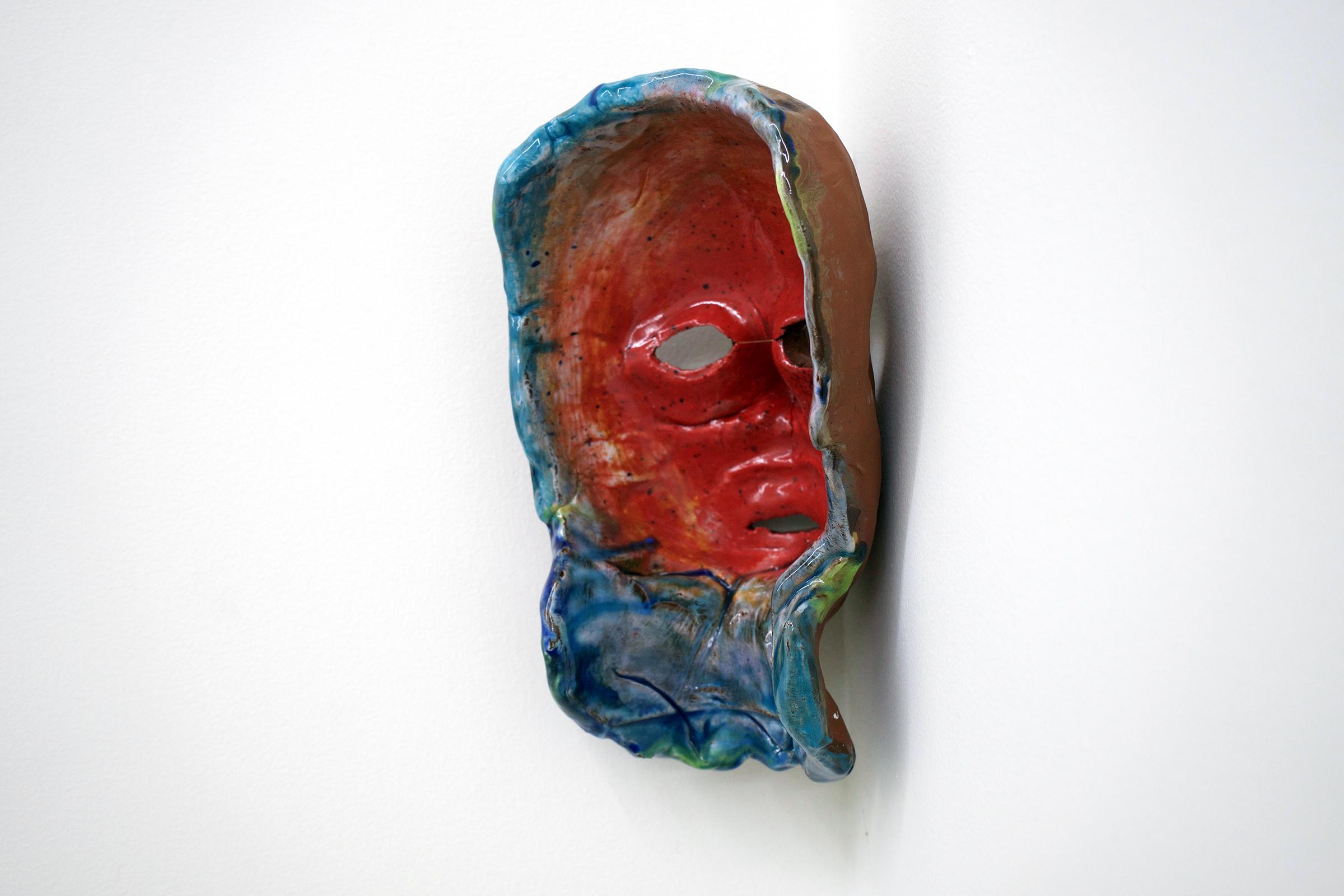 "CHRIS DUNCAN  (3/4 view) Mask #1 , 2017, ceramic and glaze, 9 1/4"" x 6"" x 6"""