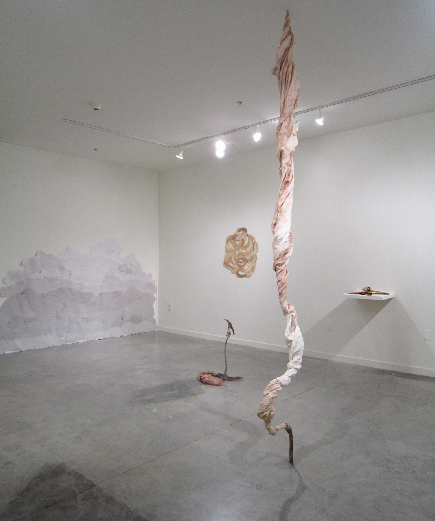 "MOLLY SMITH   Burst,  2013 (front/right sculpture), metal, fabric and wire, 120"" x 10"" x 16"""