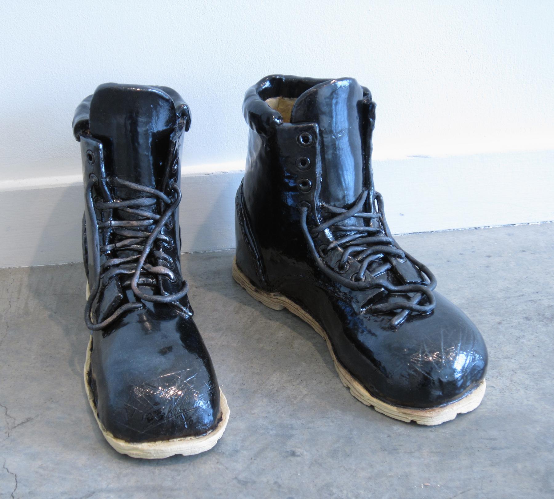 """ERIK SCOLLON   Empty Boots, 2013, glaze on stoneware, 9"""" x 11 1/2"""" x 4"""" (each)"""