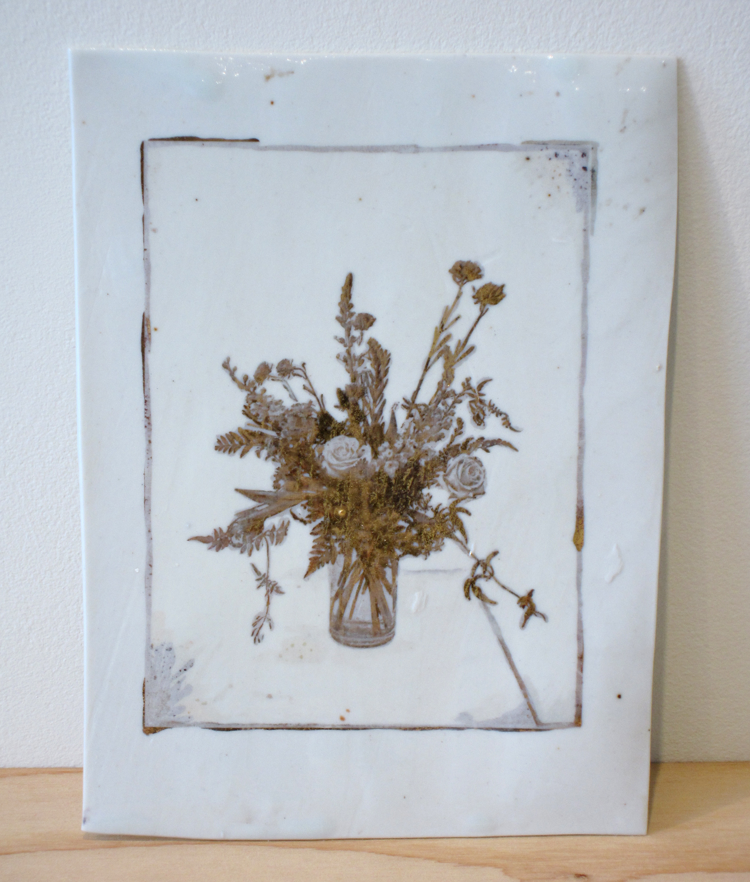 """ERIK SCOLLON   Flowers from The Oakland (Stay the Way You Are), 2013, gold luster on porcelain, 8 1/4"""" x 6"""" x 1/16"""""""