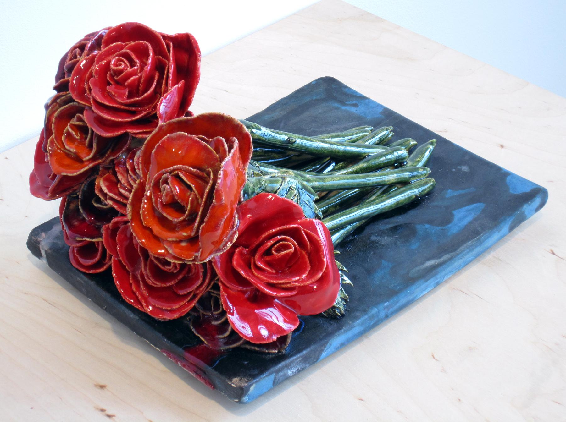 "ERIK SCOLLON   Roses, 2013, glaze and underglaze on stoneware, 7"" x 10"" x 8"""