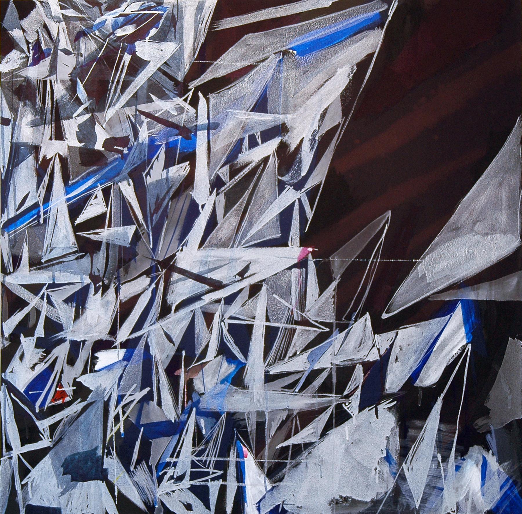 "PAMELA JORDEN   Quarry, acrylic and bleach on fabric, 33"" x 33"", 2011"