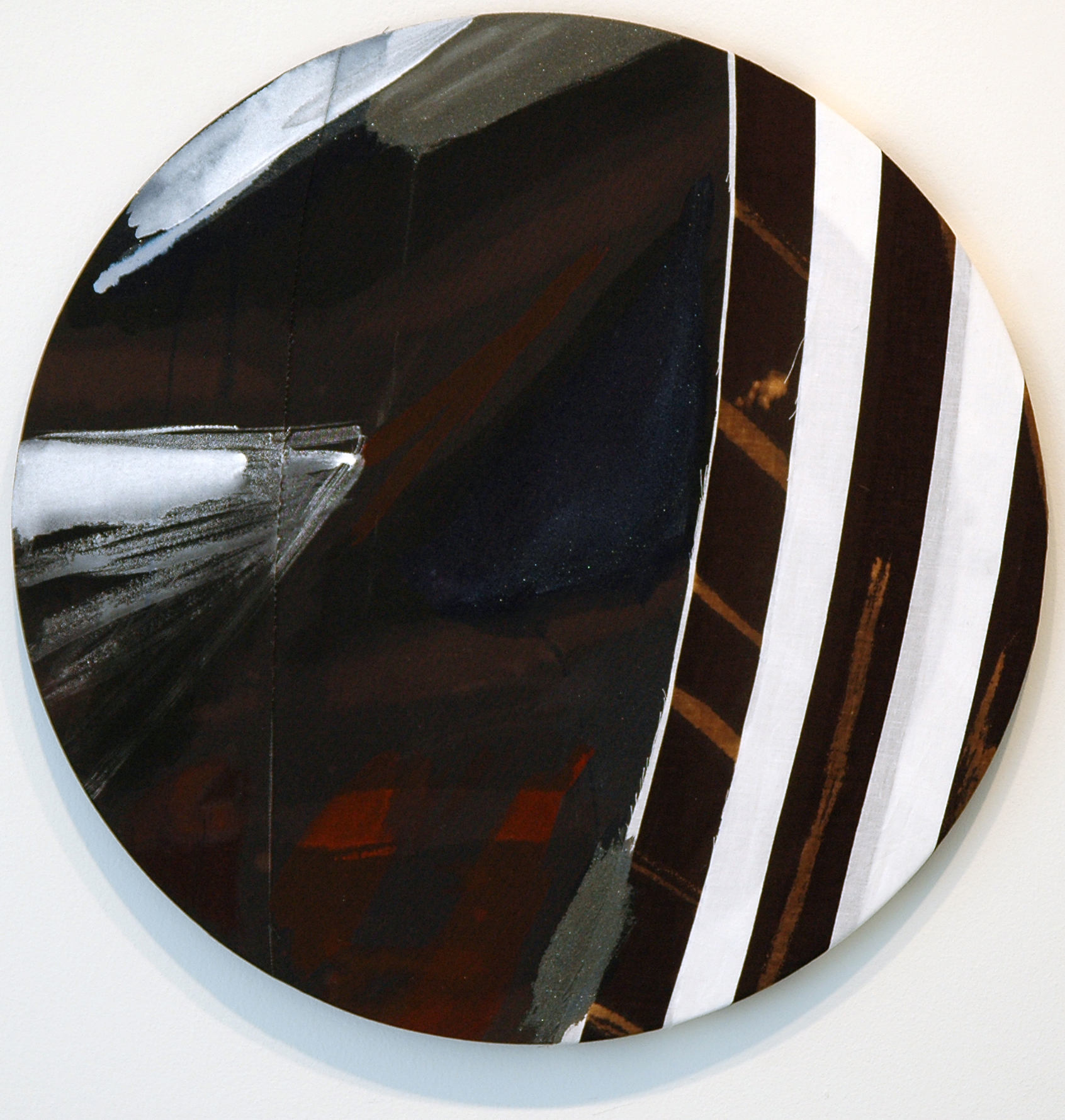 "PAMELA JORDEN   Untitled,  acrylic and bleach on fabric, 18.875"" diameter, 2011"