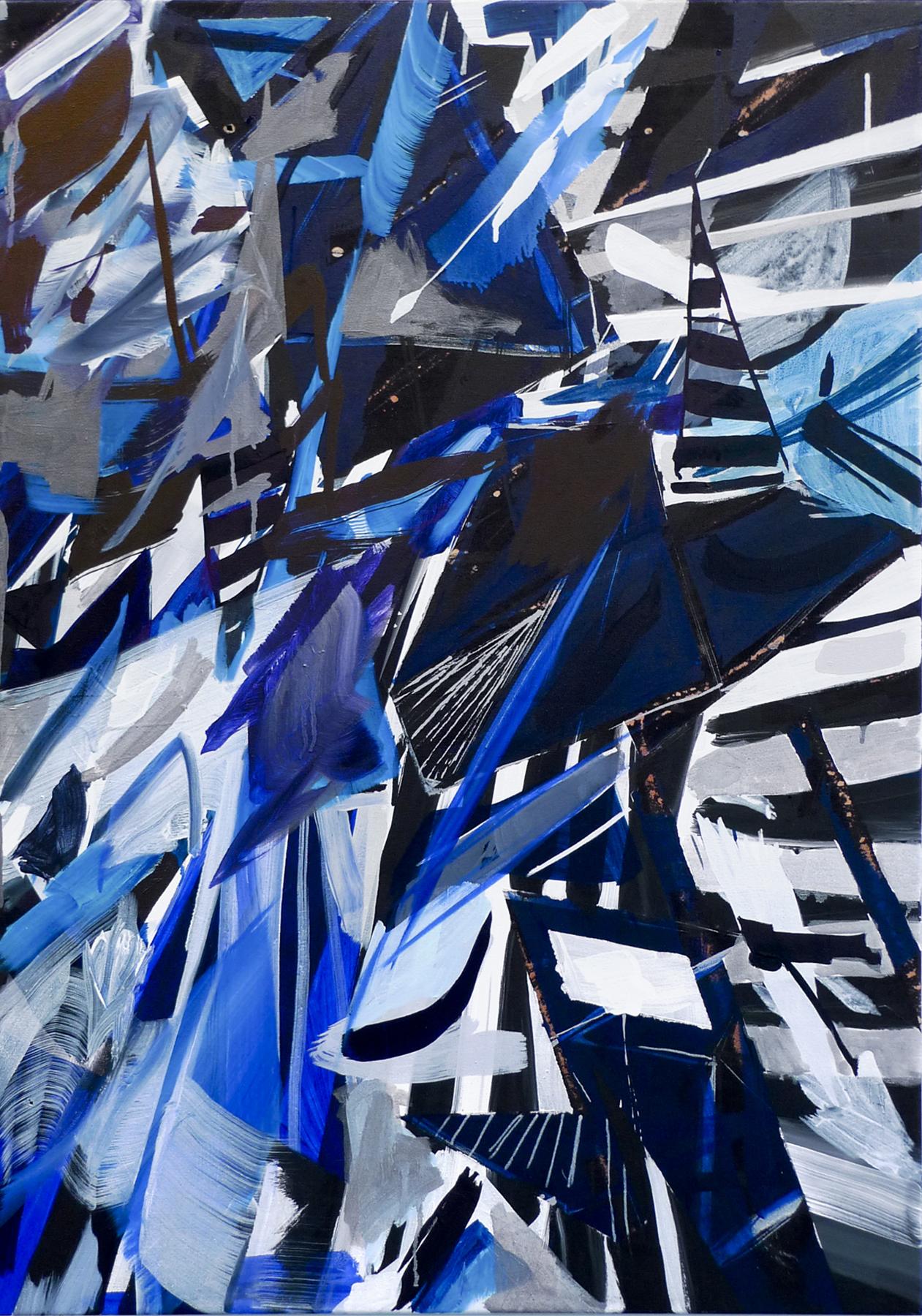 "PAMELA JORDEN   Untitled, oil, acrylic and bleach on fabric, 40"" x 28"", 2011"