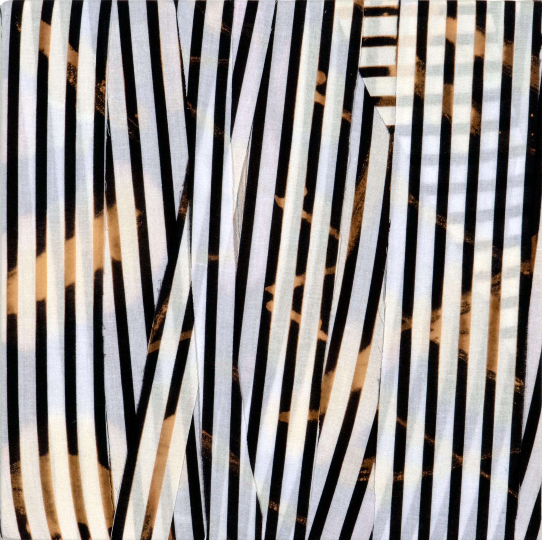 "PAMELA JORDEN  [BACK ROOM] Untitled, bleach on cut fabric, 13"" x 13"", 2011"